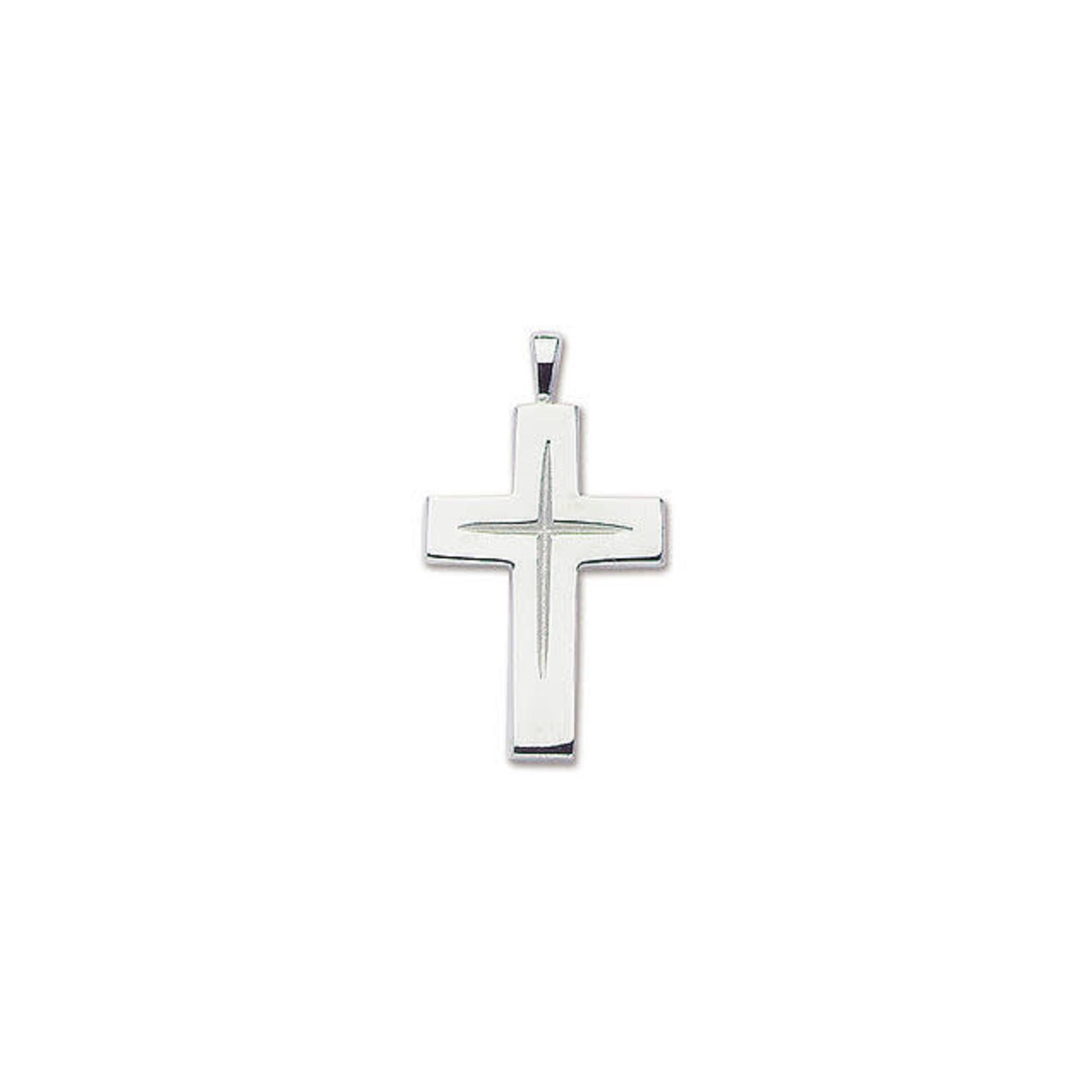 Sterling Silver Large Star Cut Cross