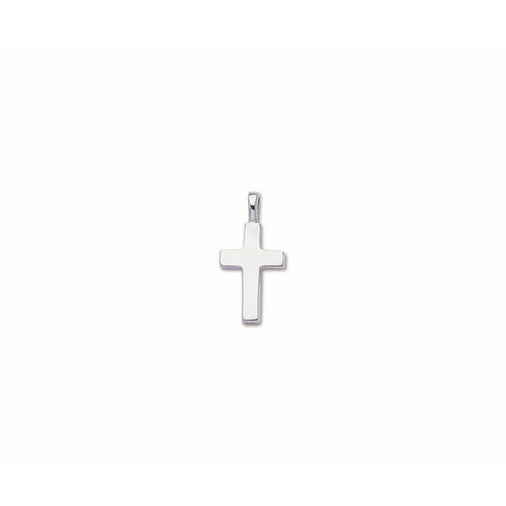 """Sterling Silver Small Solid Plain Cross 16-18"""""""