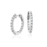 14KW Gold Diamond Oval Inside Out Hoop 0.50CTW
