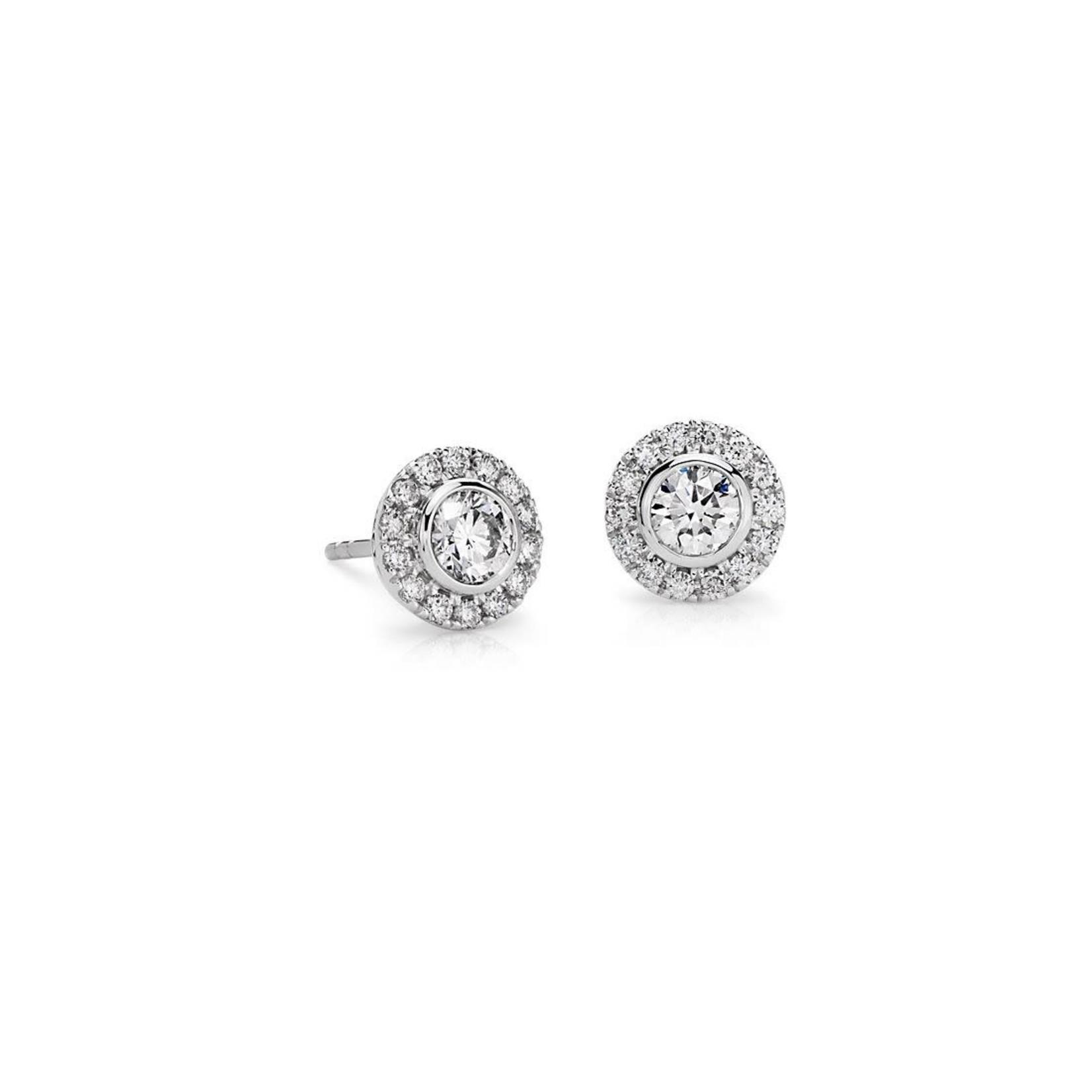 14KW Gold Diamond  0.74ctw Bezel Set Halo Stud Earrings