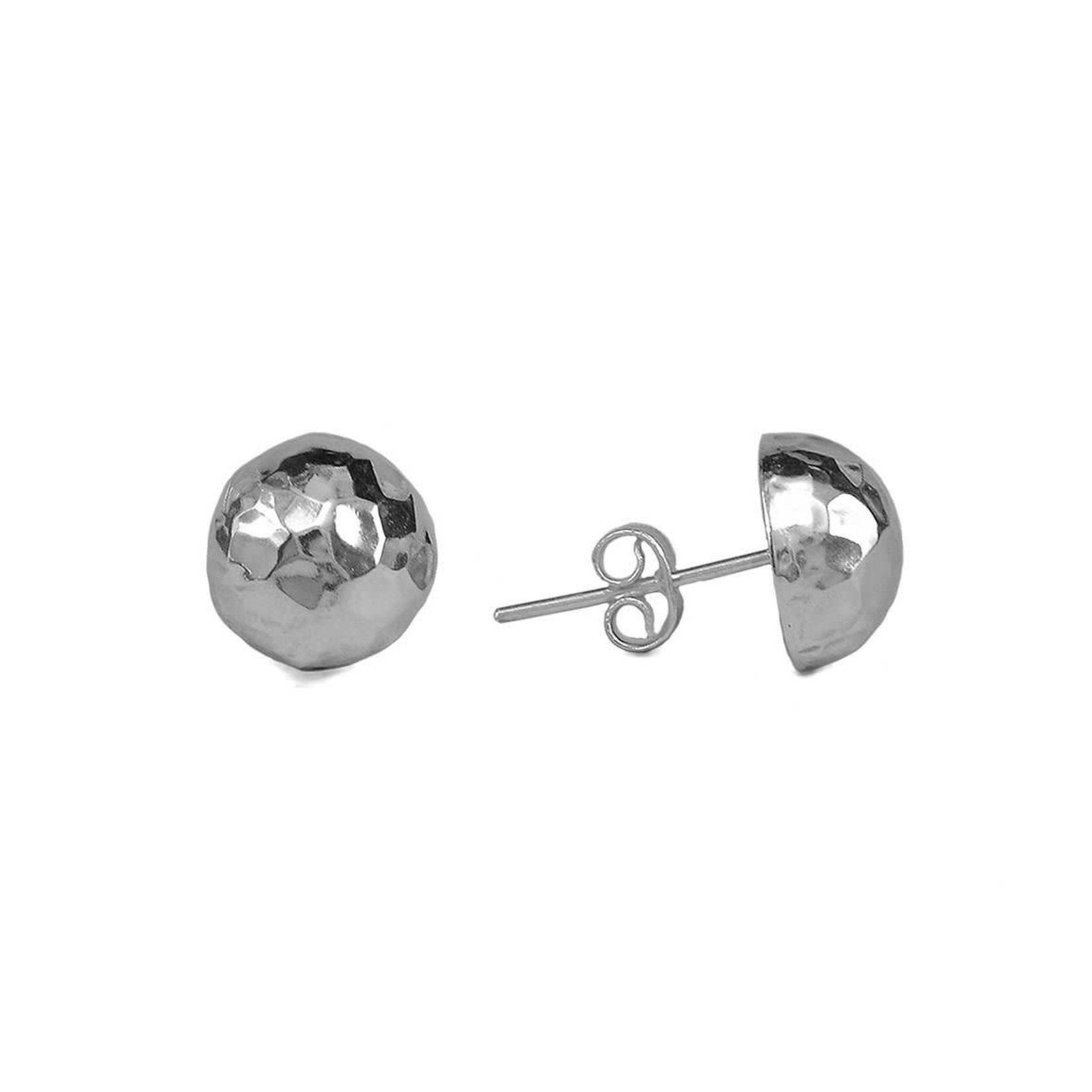 Sterling Silver Hammered 12mm Button Stud Earrings