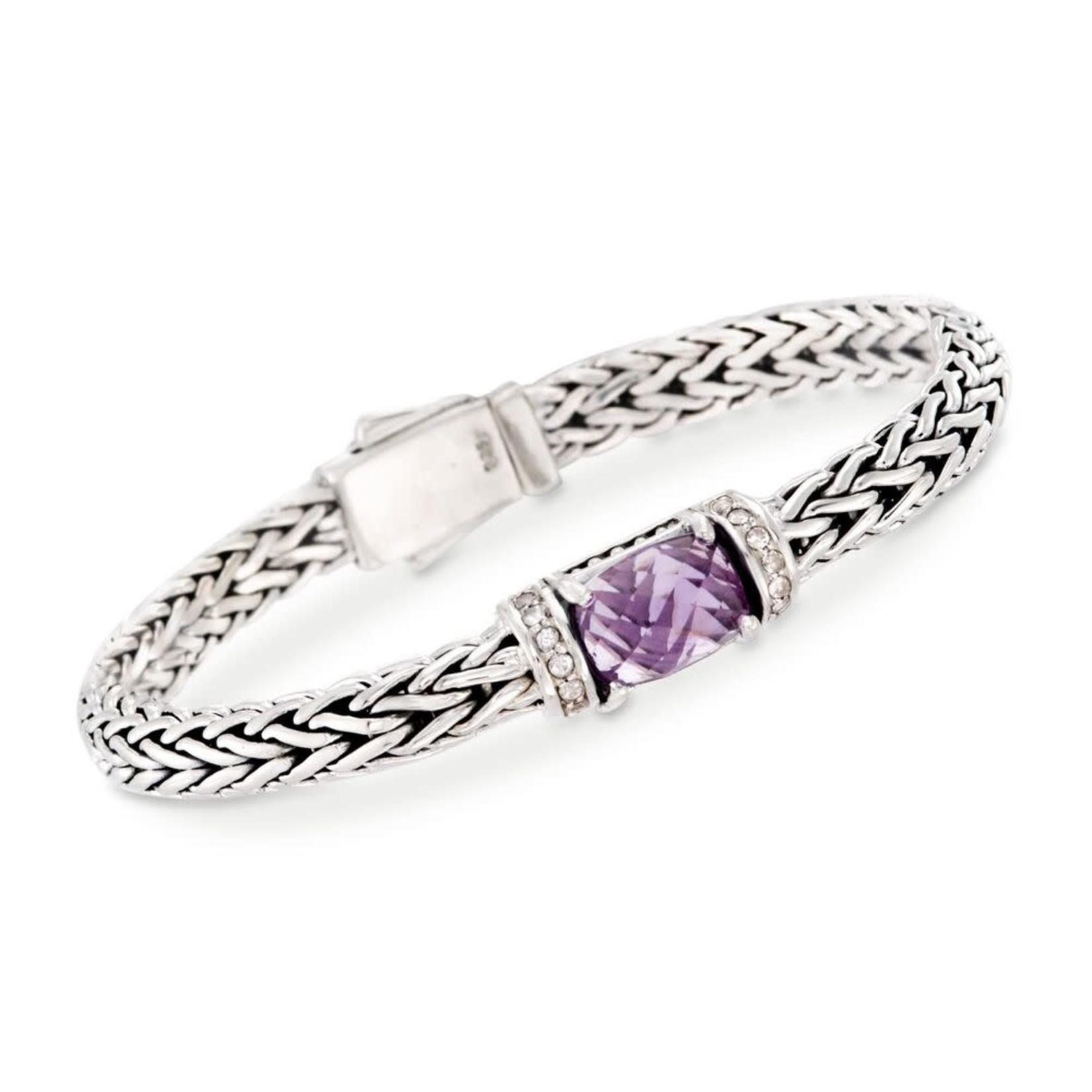 Sterling Silver Amethyst & White Topaz Weave Bracelet