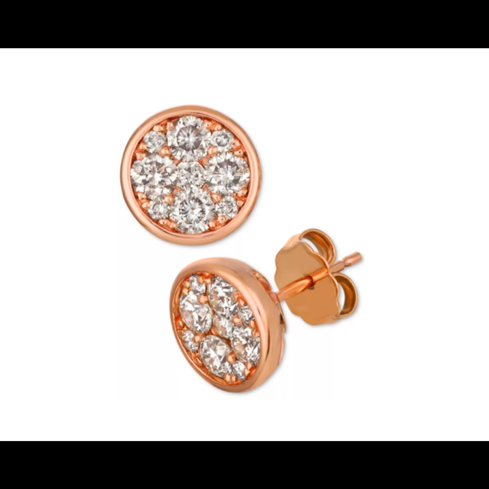 18K Rose Gold Diamond 0.46ctw Round Cluster Stud Earrings