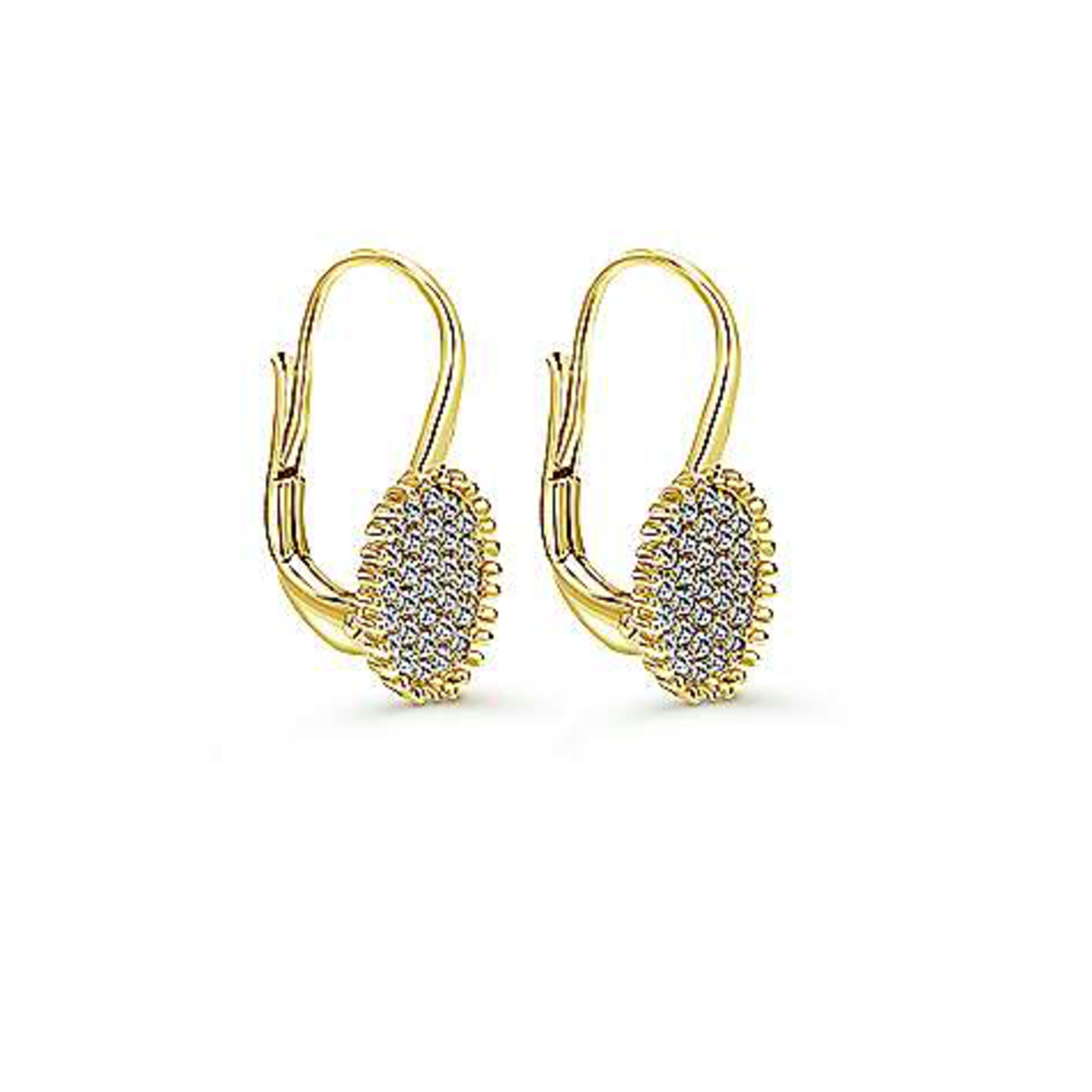 14KY Oval Pave Diamond 0.30ctw Cluster Drop Earrings
