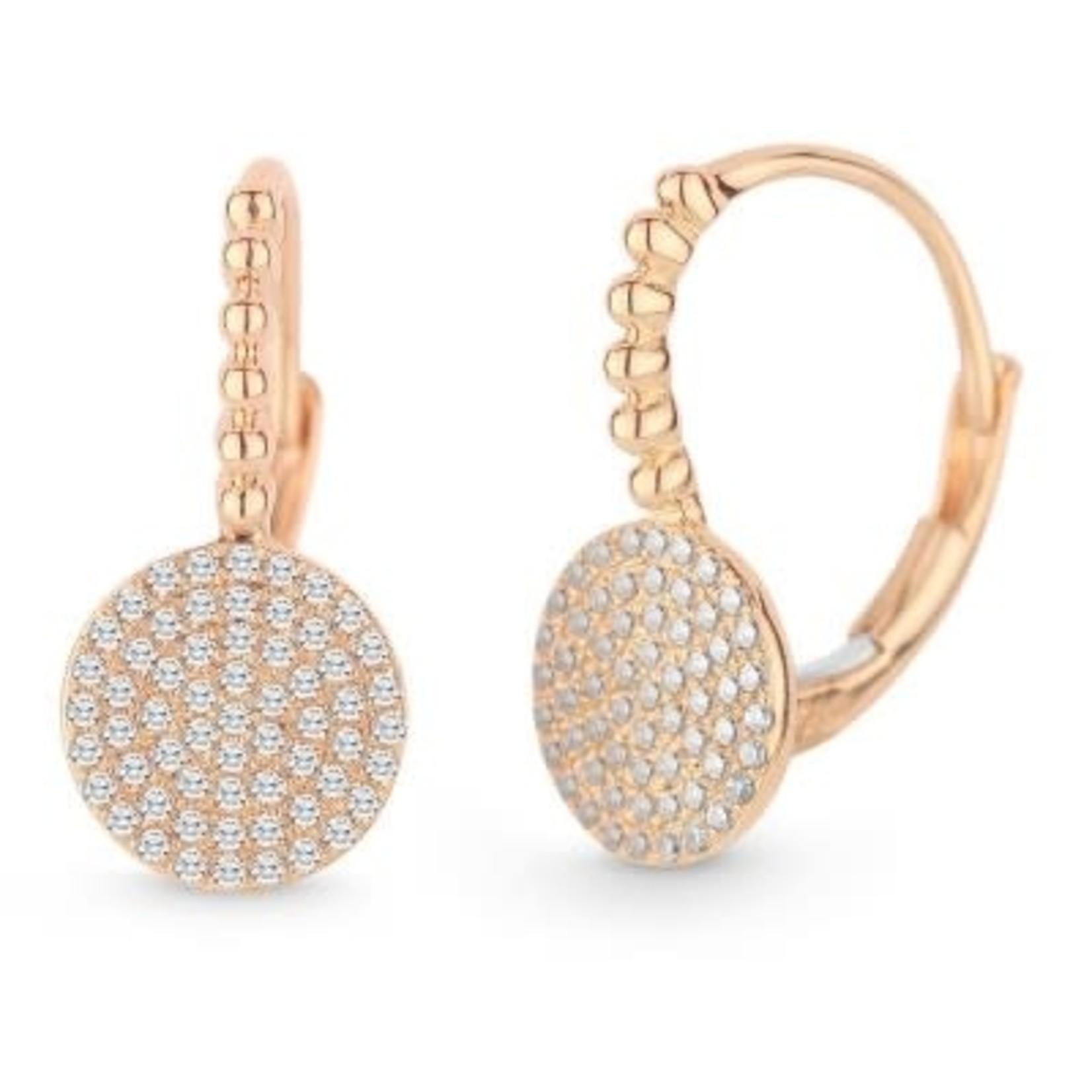 14K Rose Gold Pave Diamond 0.27ctw Disc Drop Earrings