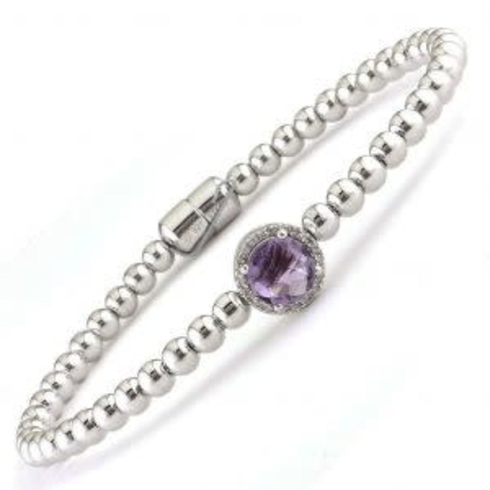 Sterling Silver Amethyst Diamond Bead Magnetic Bracelet