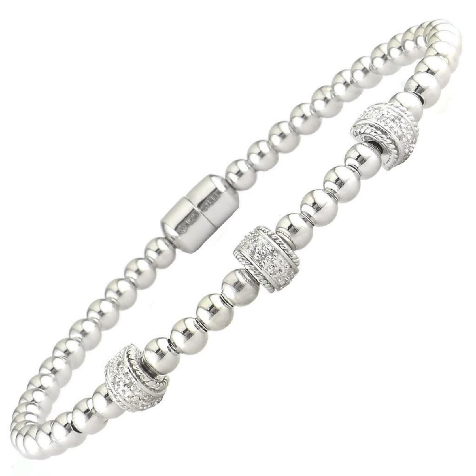 Sterling Silver Diamond 0.05ctw Wrap Magnetic Bracelet