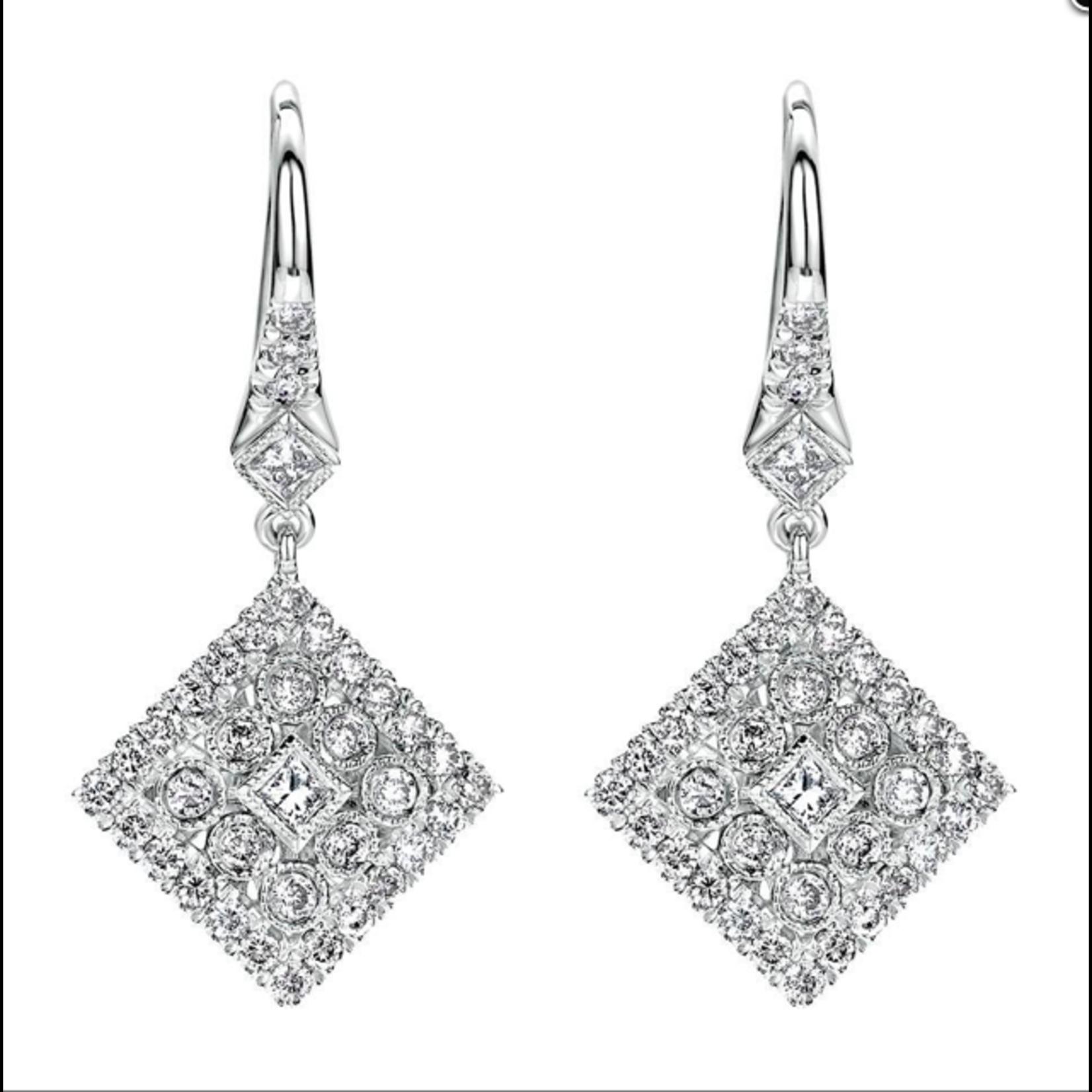 14KW Gold Diamond 0.63ctw Deco Drop Earrings