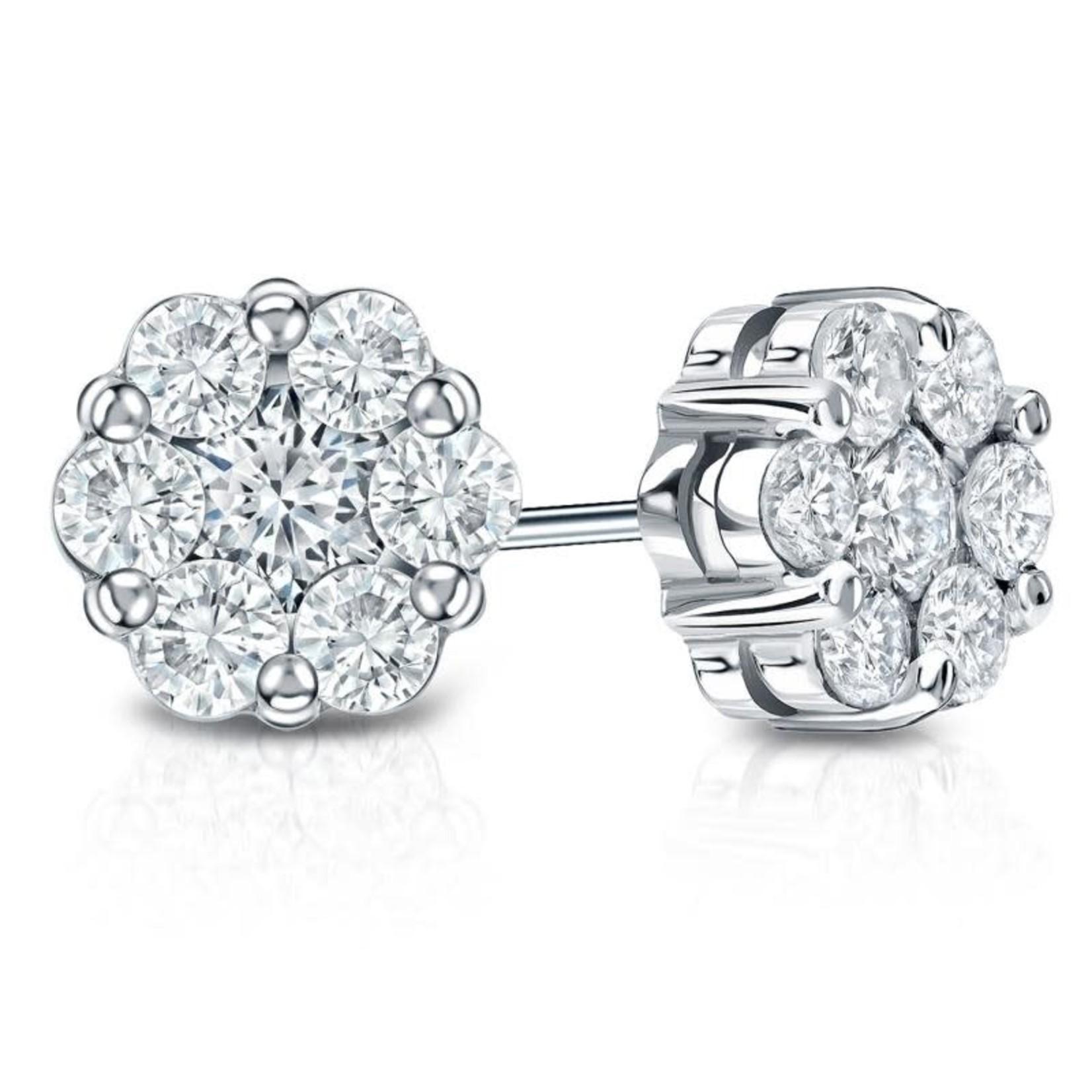 14KW Gold Diamond 0.75ctw Round Cluster Stud Earrings