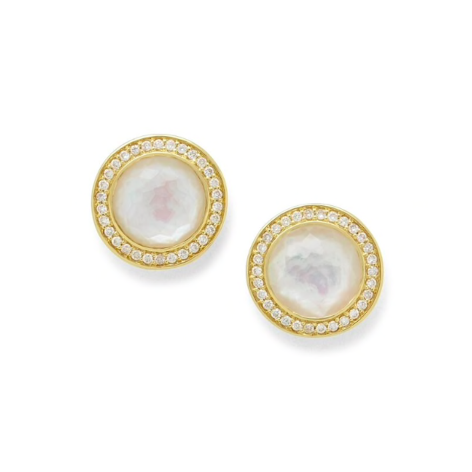 18KY Gold Mother of Pearl & Diamond 0.64ctw Studs by IPPOLITA