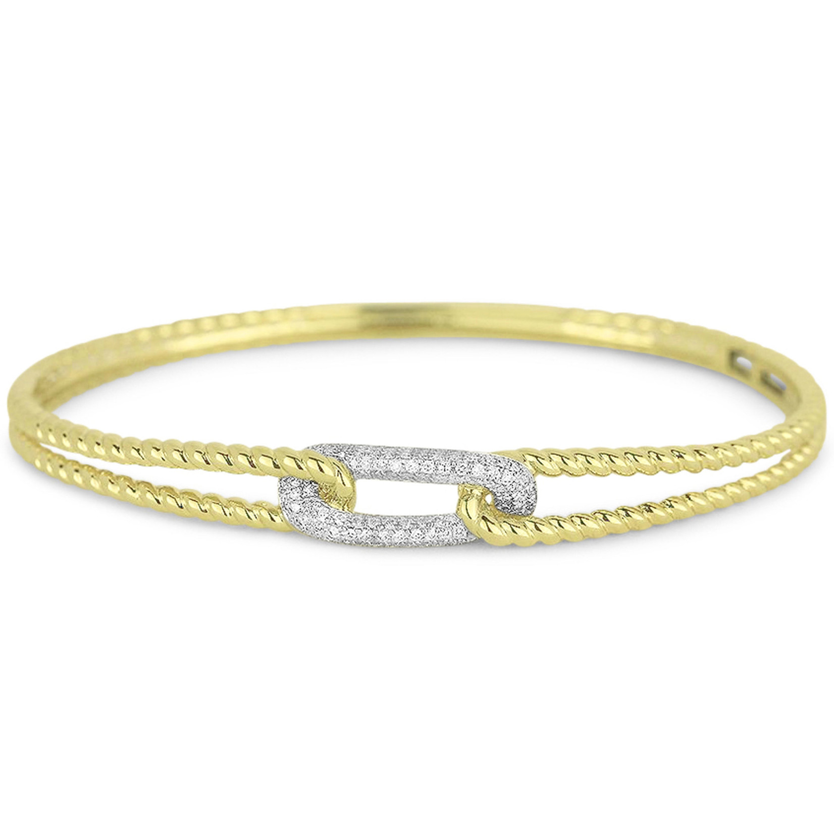 14KY Gold Pave Diamond 0.32ctw Link Cable Bangle
