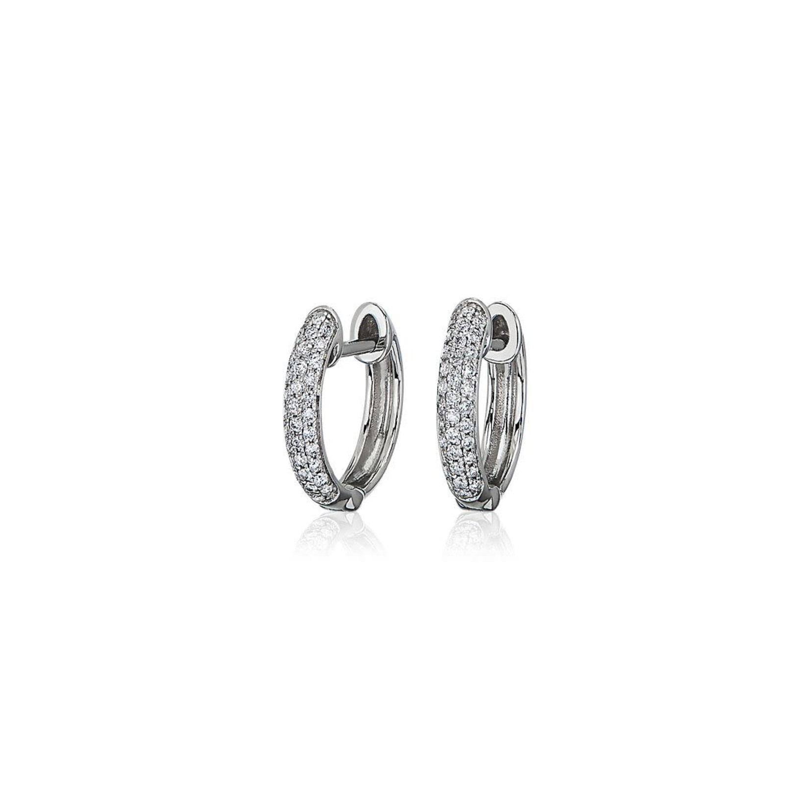 14KW Gold Diamond 1.22ctw Pave Hoop Earrings