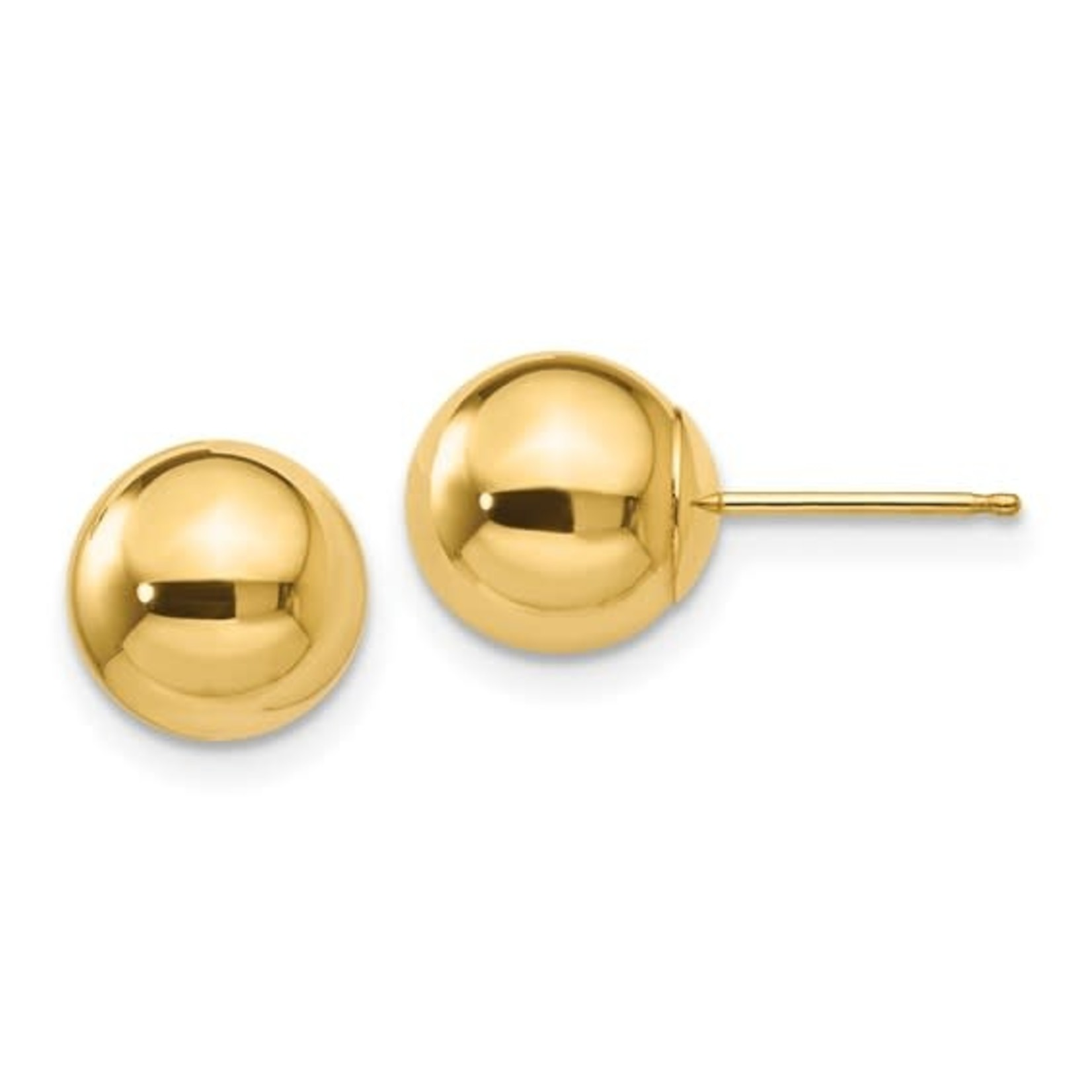14KY Gold 8mm Round Ball Stud Earrings