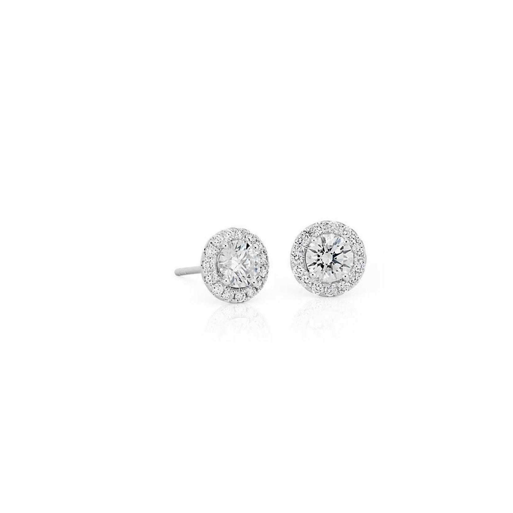 14KW Gold Diamond 1ctw Halo Stud Earrings