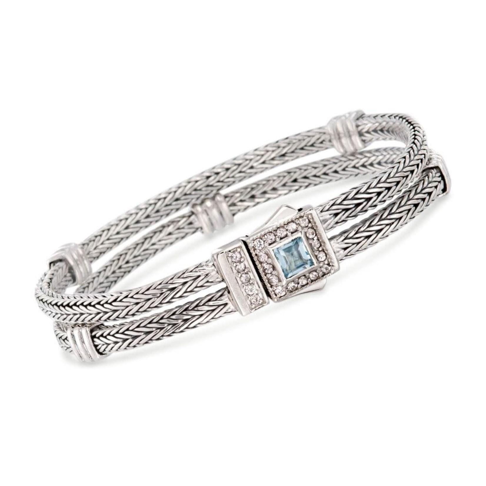 Sterling Silver Double Weave Blue Topaz & White Sapphire Bracelet