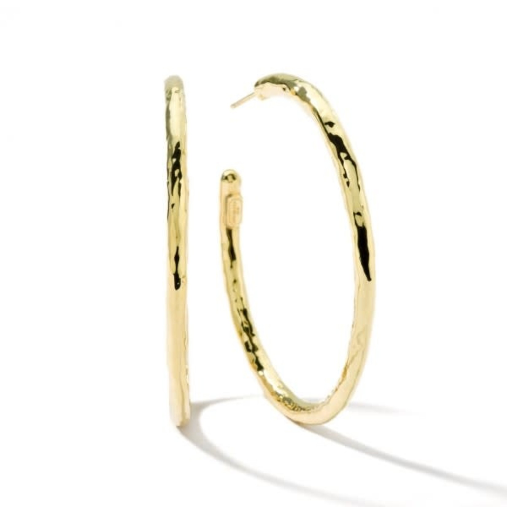 18K Gold Large Hammered Hoop Earrings by IPPOLITA