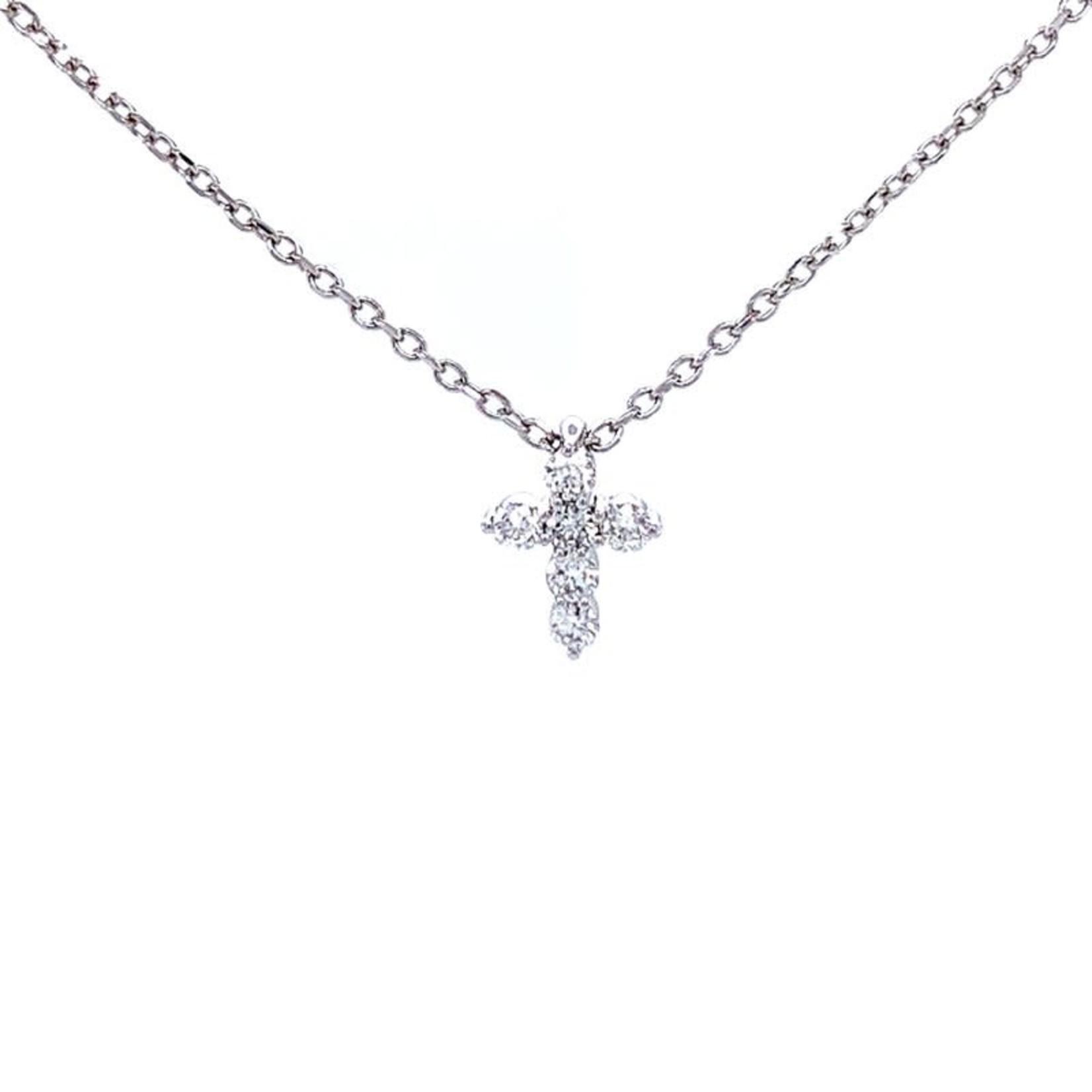 "14KW Gold Diamond 0.24ctw Cross 16"""