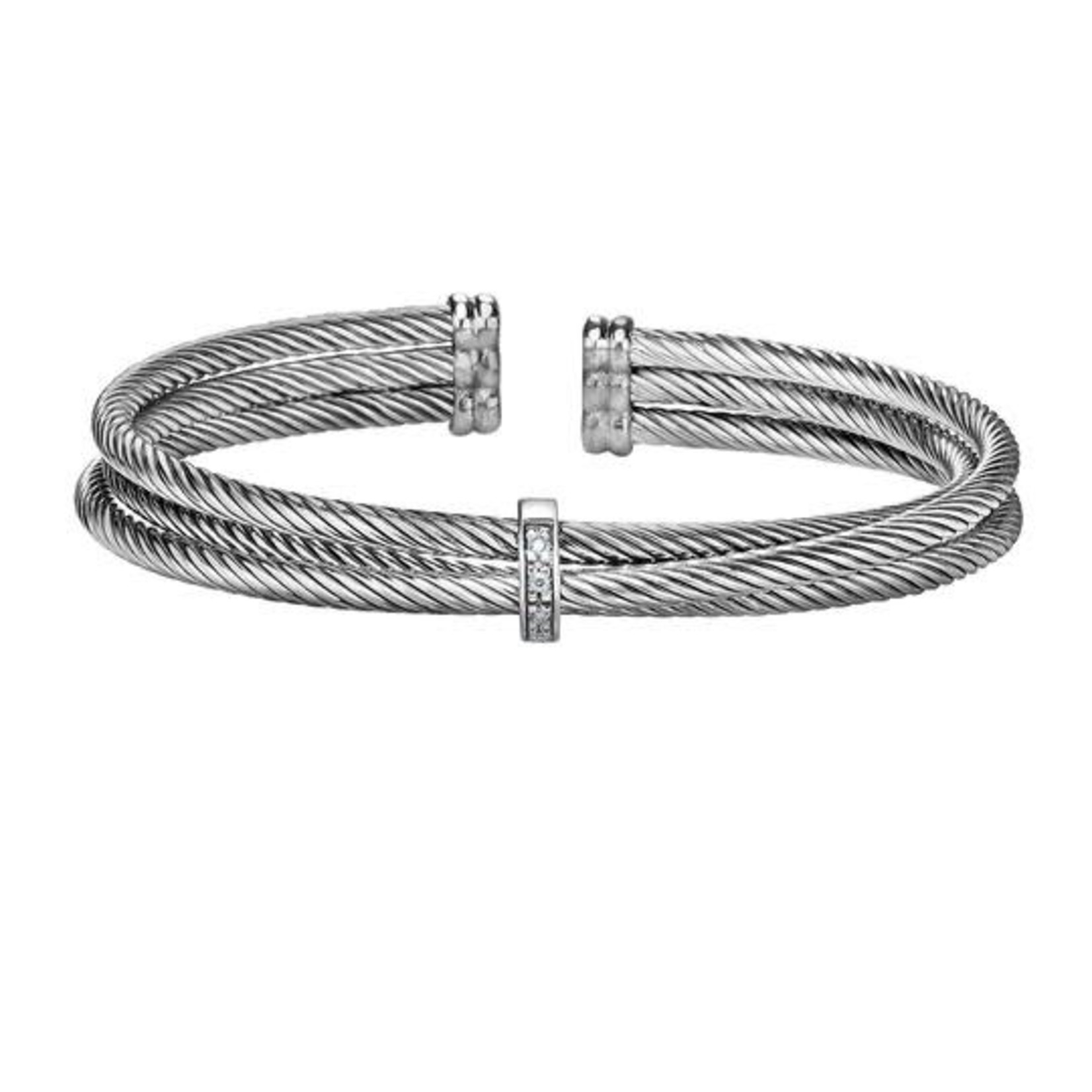 Sterling Silver Diamond .04ctw Cable Cuff Bracelet