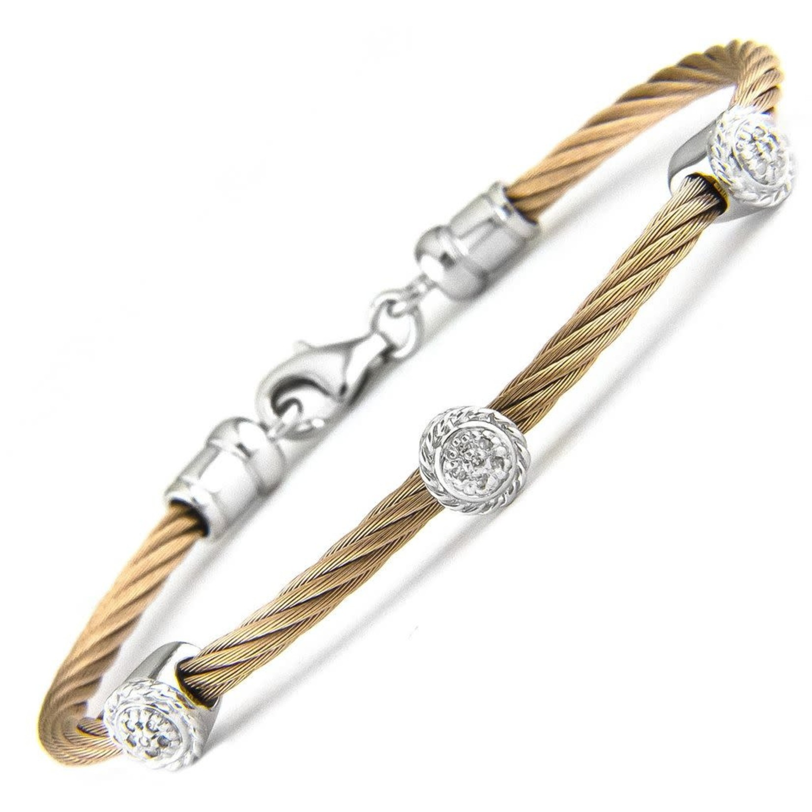Rose Gold Sterling Steel Diamond 0.05ctw Round Cluster Cable Bracelet