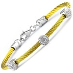Yellow Gold Sterling Steel Diamond 0.05ctw Round Cluster Cable Bracelet