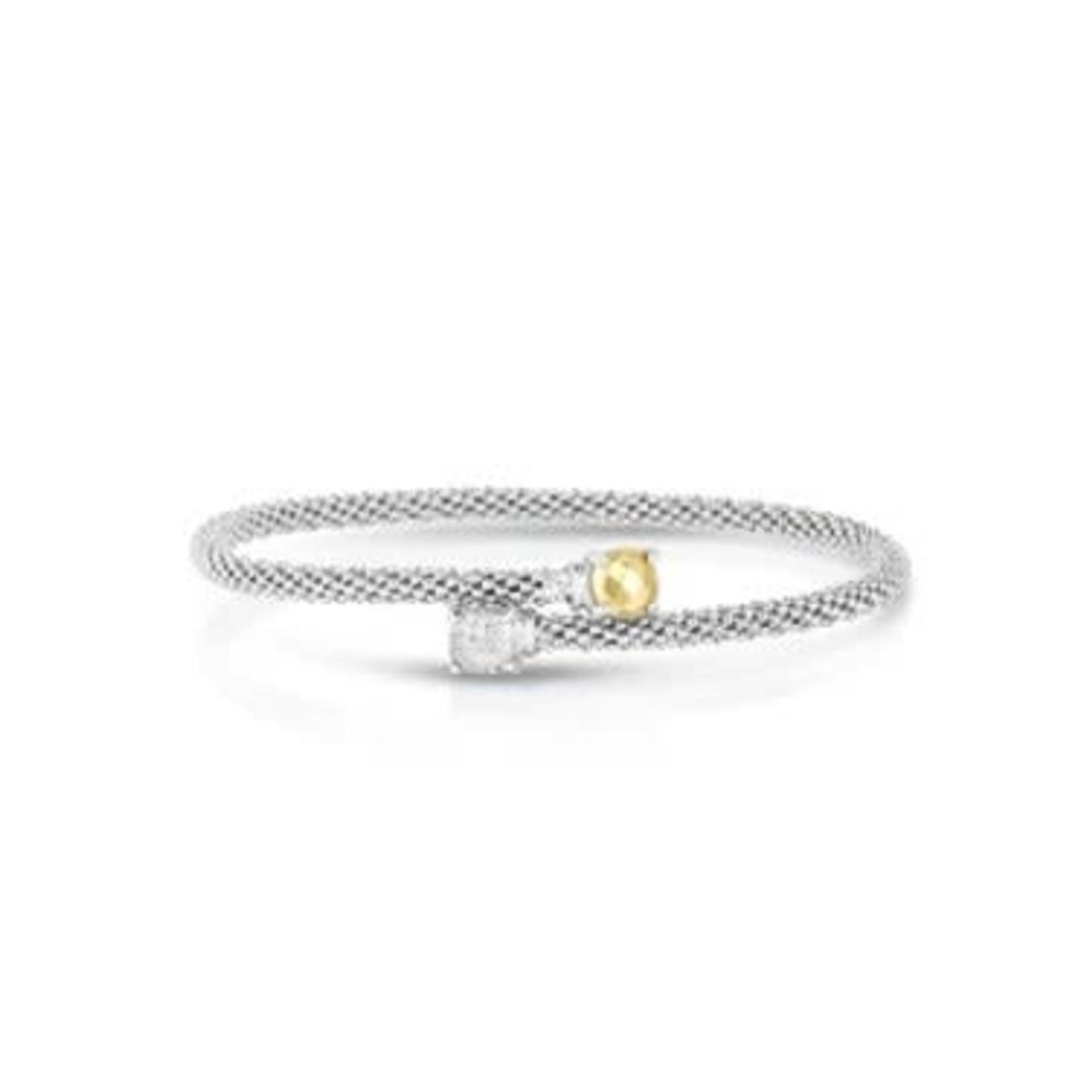 Sterling Silver 18K Yellow Gold  Diamond 0.11ctw Wrap Bracelet