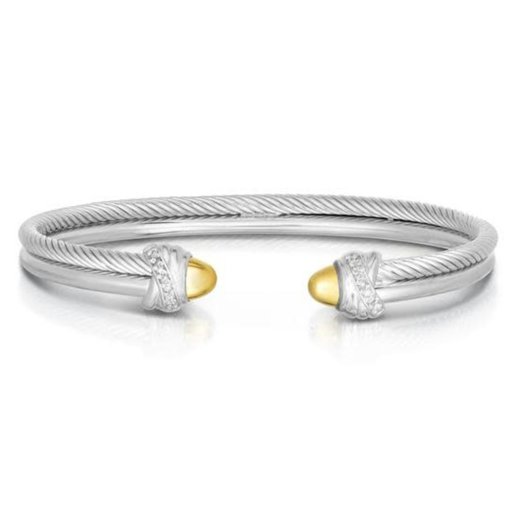 Sterling Silver 18K Gold Diamond 0.07ctw Cable Bangle