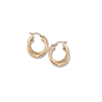 14KY Gold Double Tube Hoop Earrings