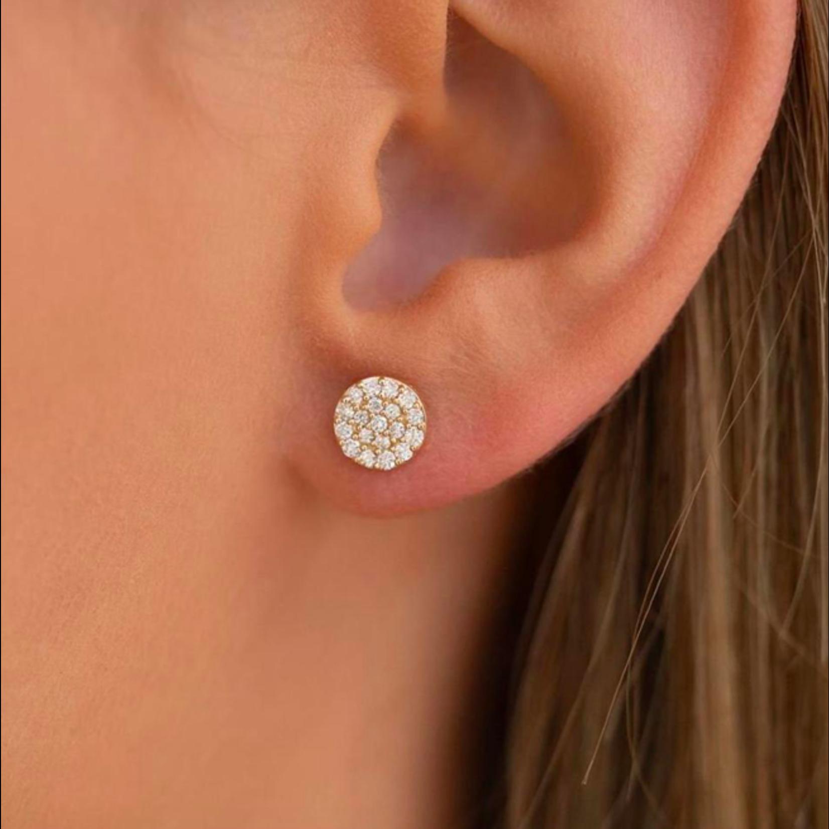 14KW Gold Round Pave Diamond 0.33ctw Stud Earrings
