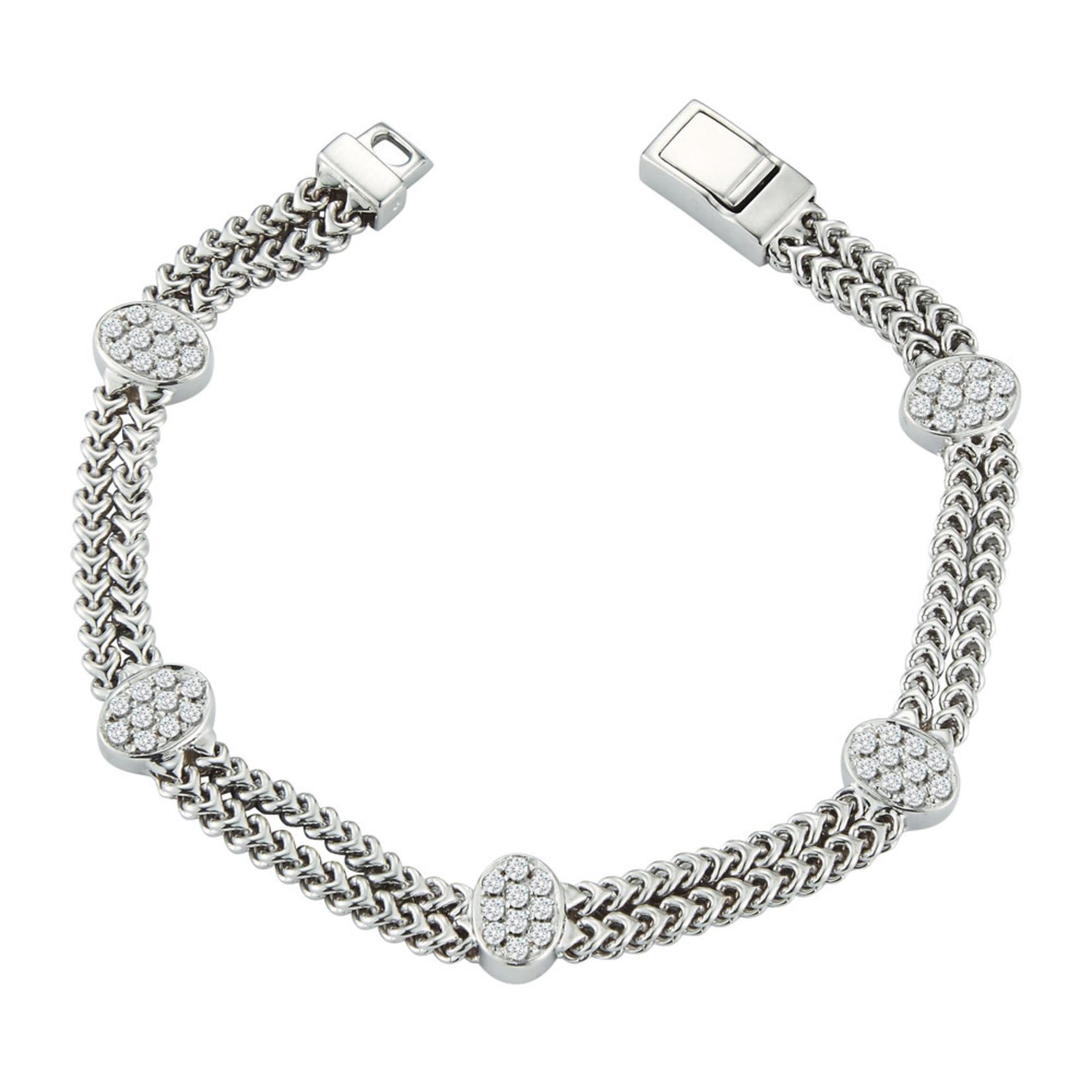 14K White Gold Oval Pave Diamond 0.85ctw Cluster Link Bracelet