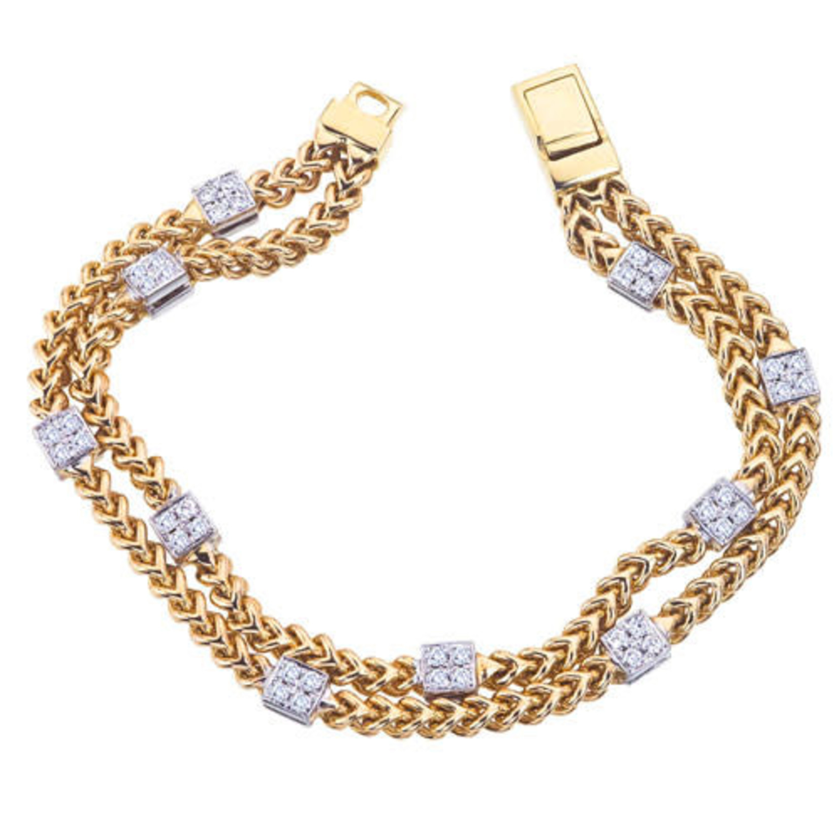 14K Yellow & White Gold Square Diamond Cluster 1.01ctw Bracelet
