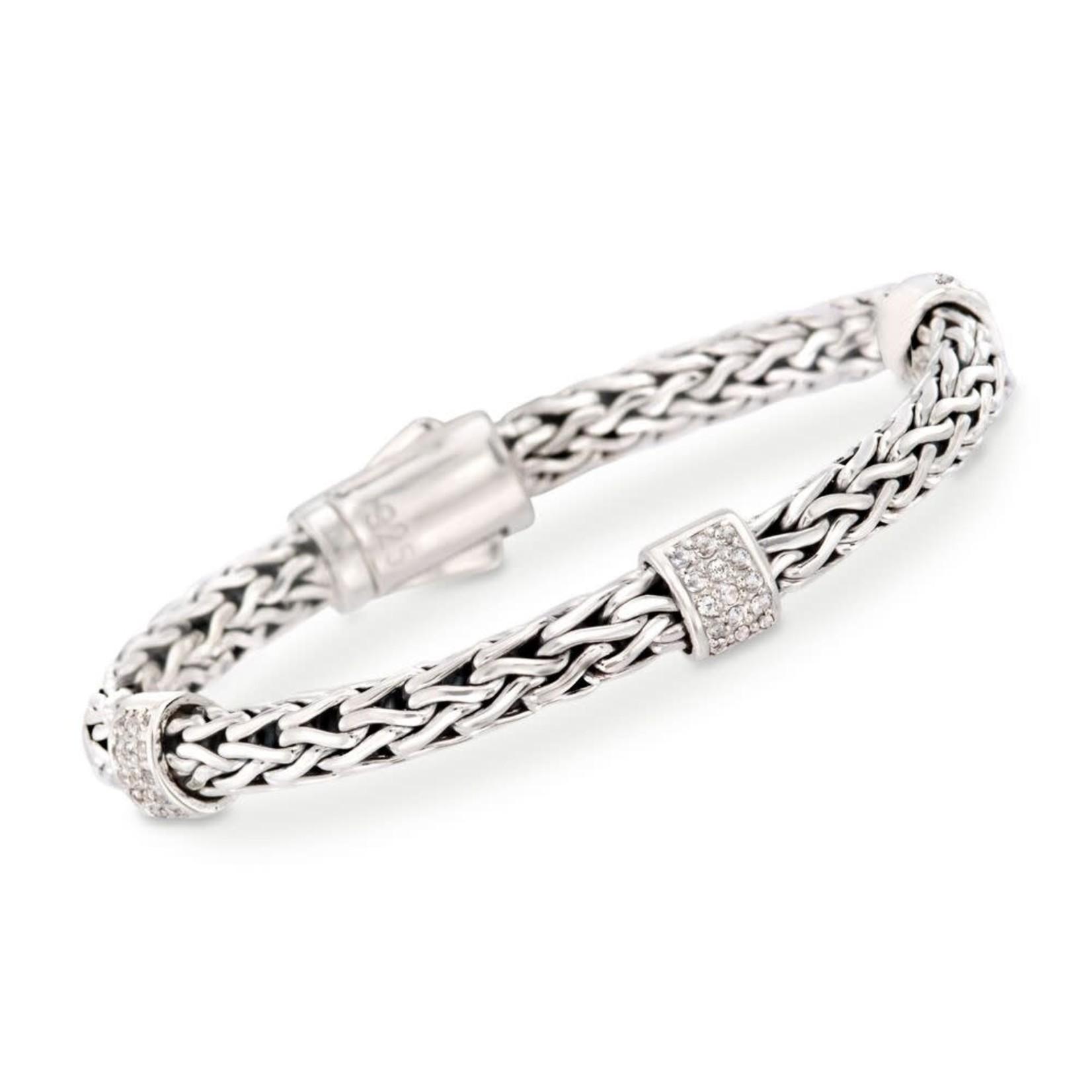 "Sterling Silver White Sapphire Weave Bracelet 7.25"""