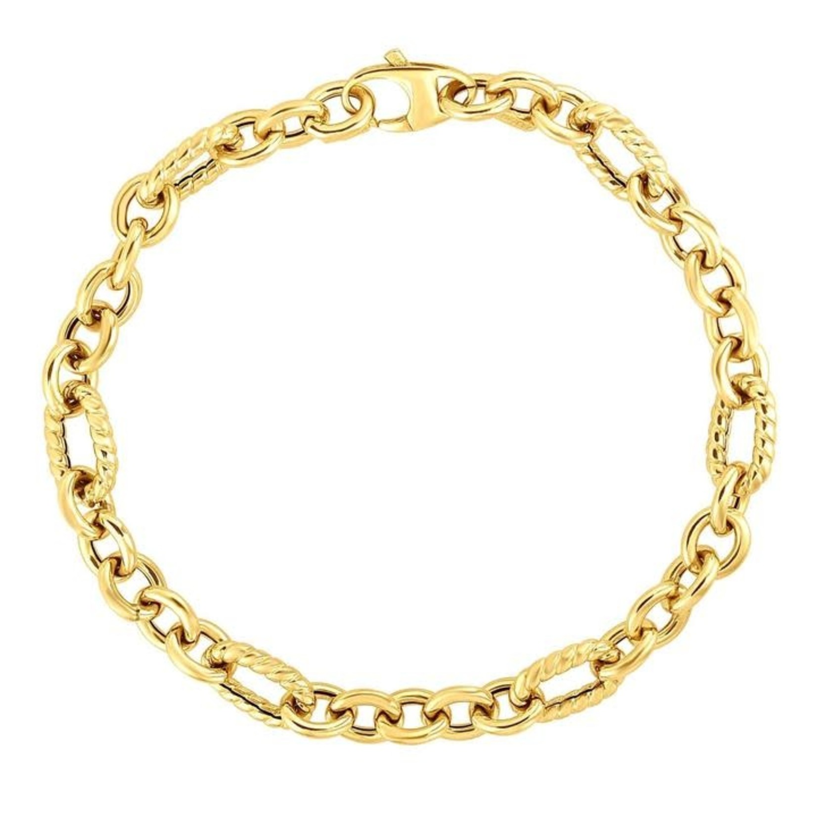 14K Yellow Gold Twisted Cable Link Bracelet