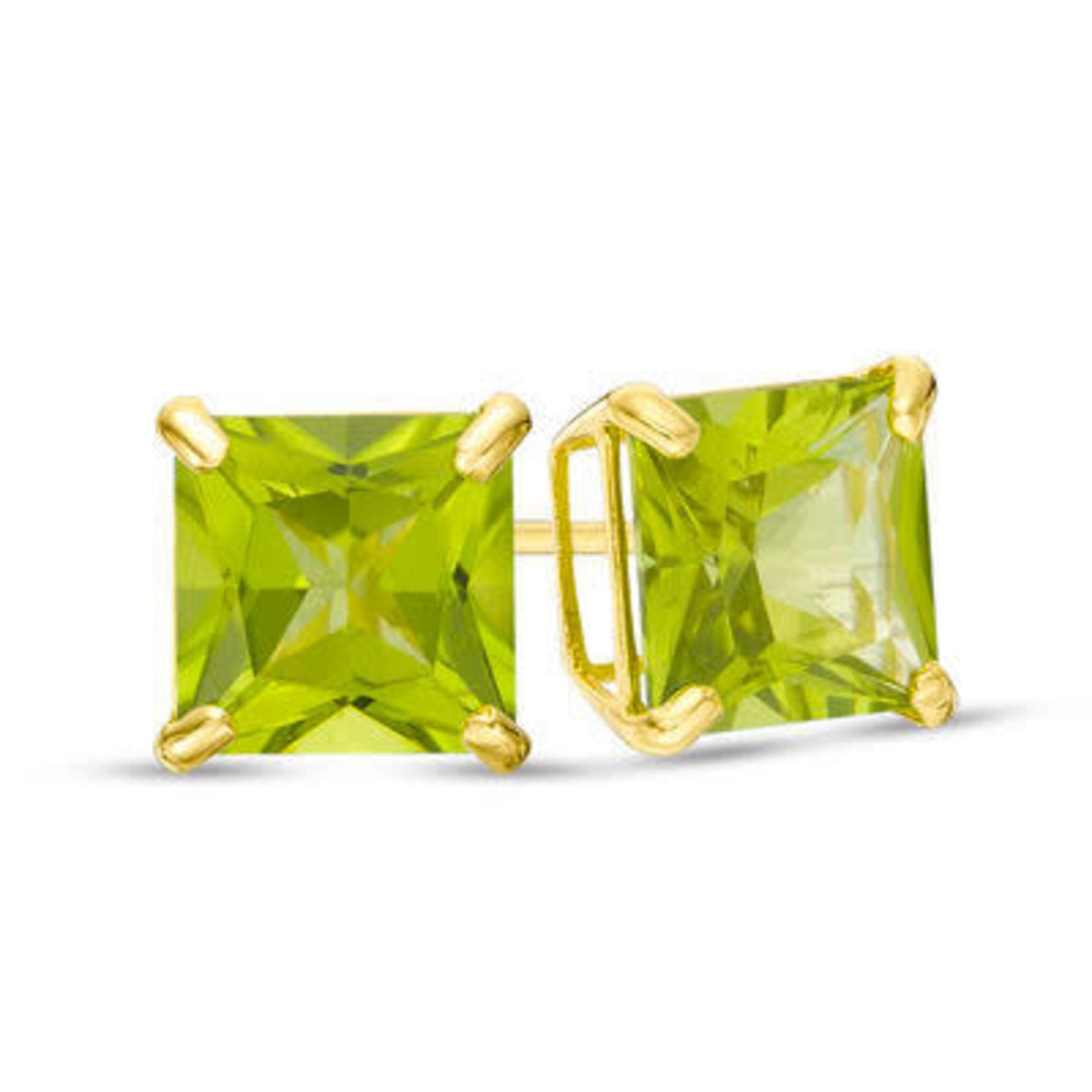 14KY Gold Large Step Cut Peridot Stud Earrings
