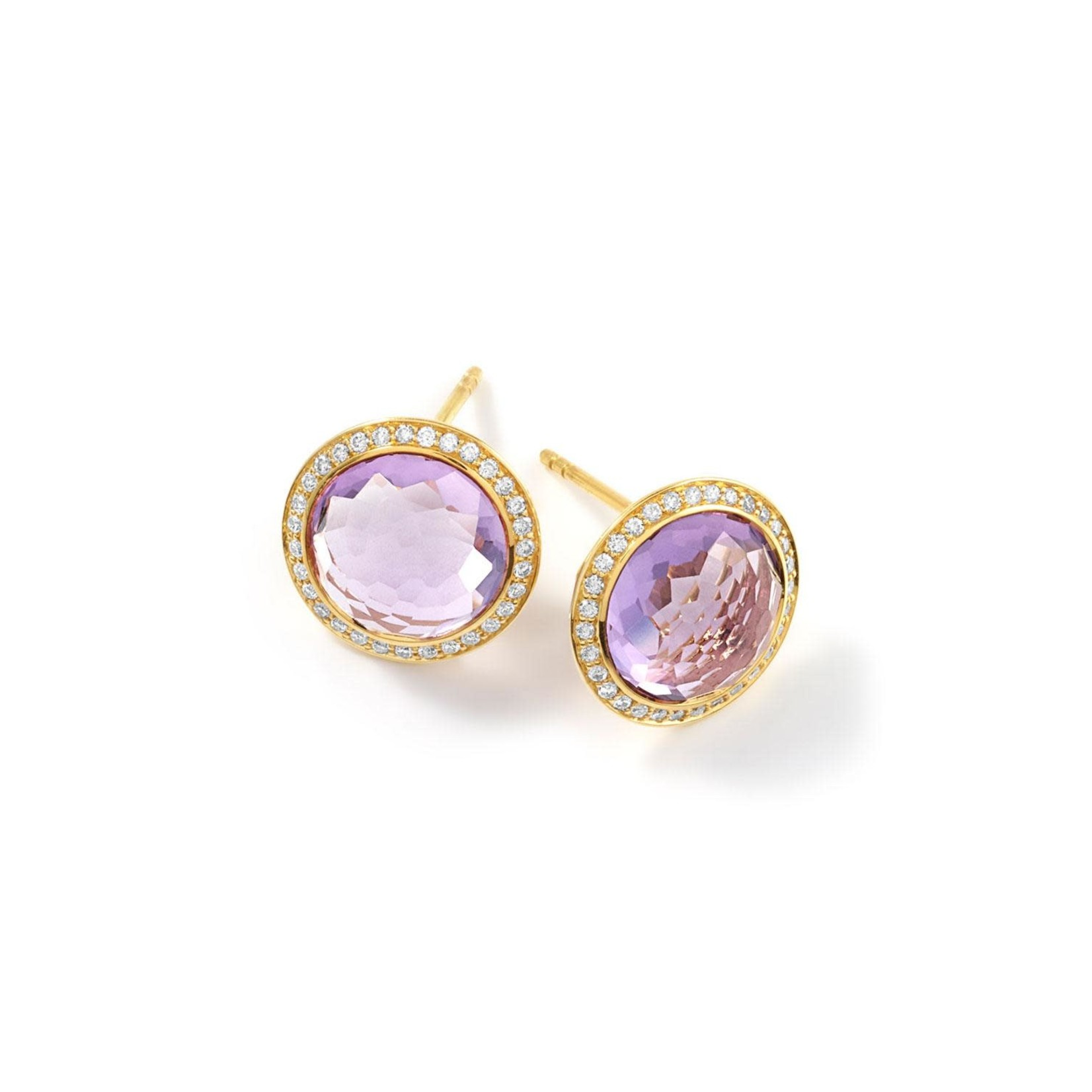 18KY Gold Amethyst & Diamond 0.64ctw Stud Earrings