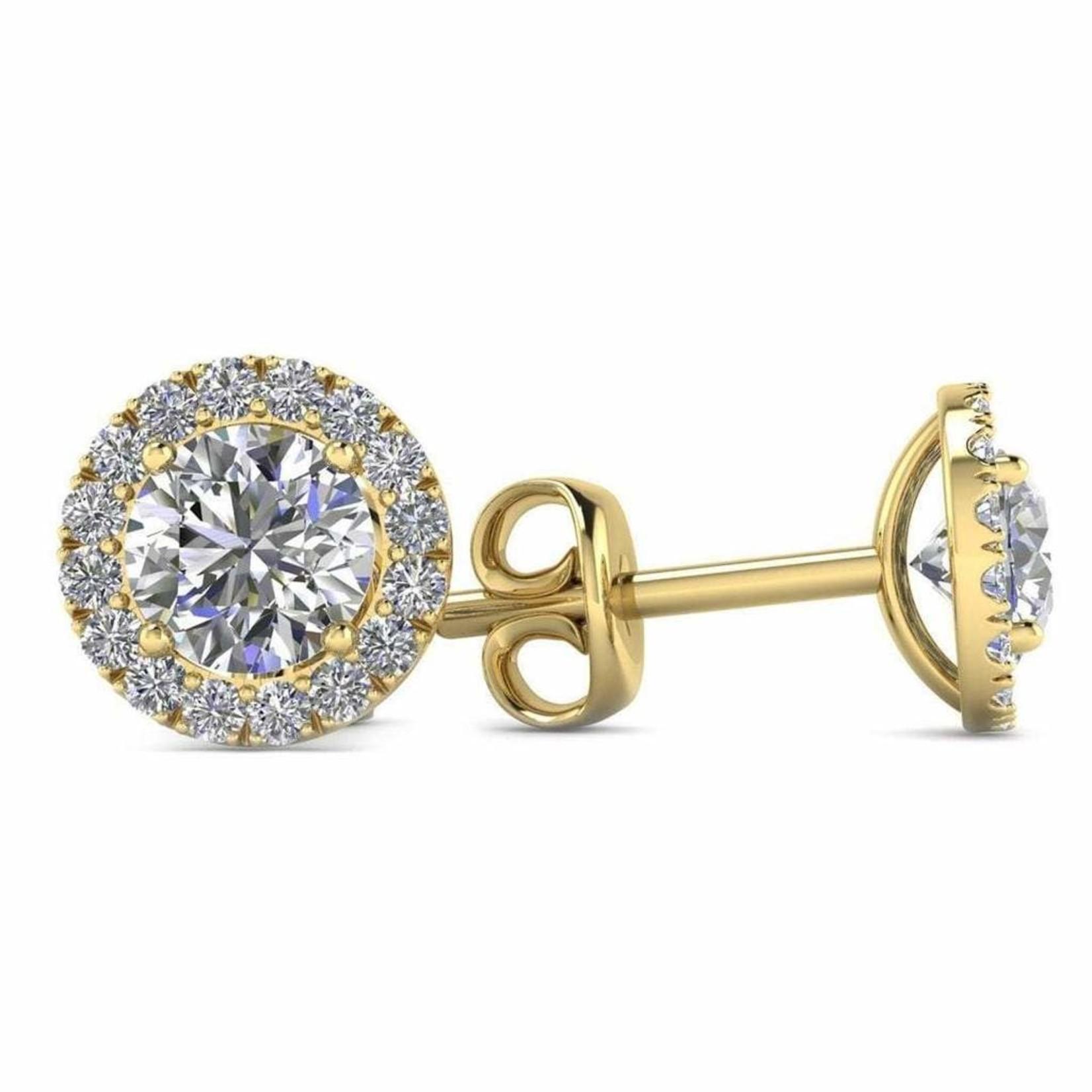 14KY Gold Diamond Halo Studs 0.72CTW