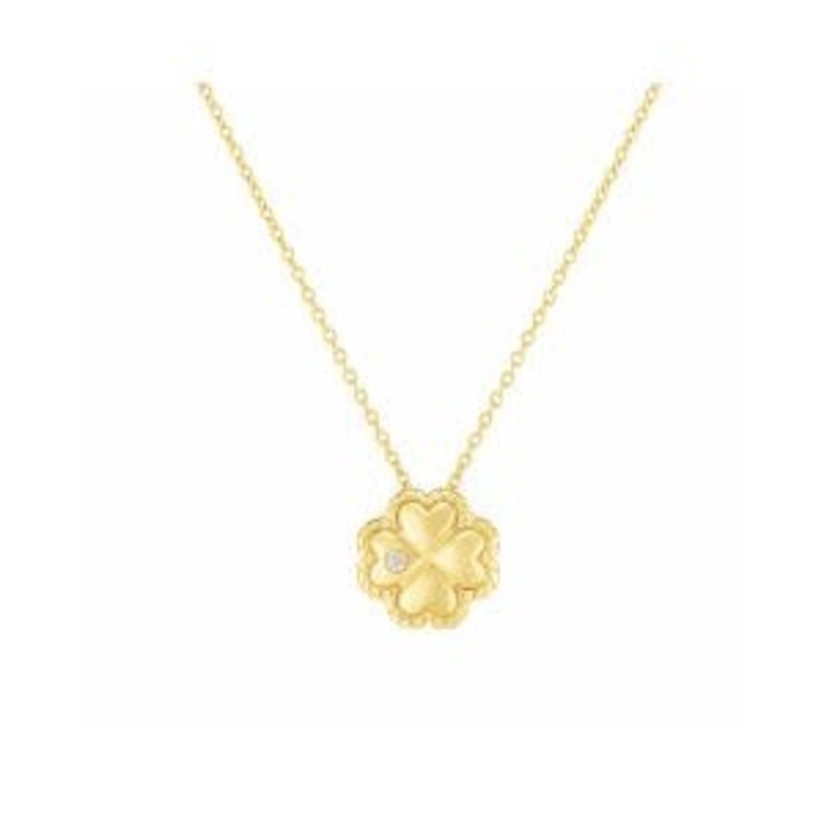 "14K Yellow Gold Diamond 0.01ctw Clover Pendant 18"""