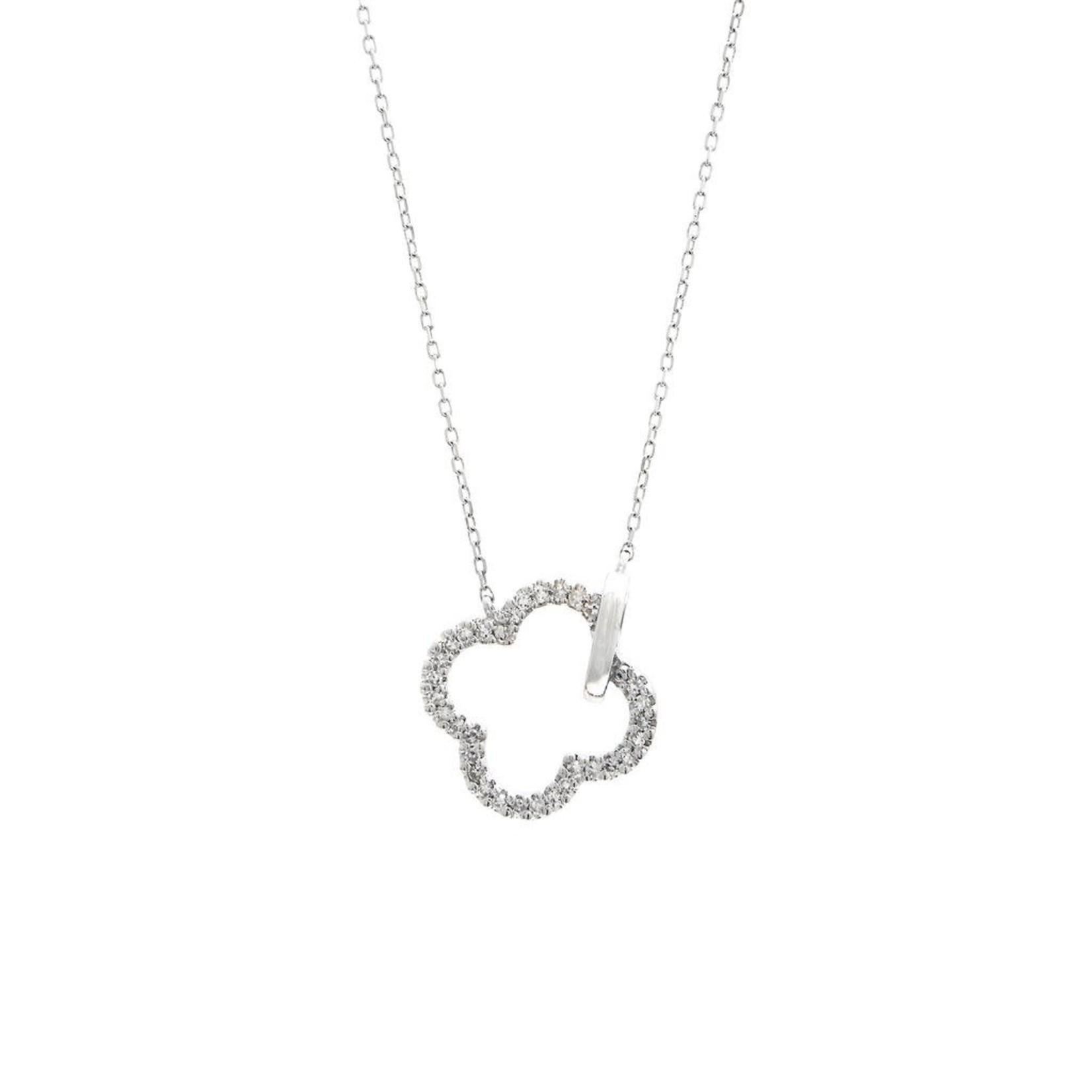 """14K White Gold 0.10CT Diamond Quatrefoil Necklace 16-18"""""""