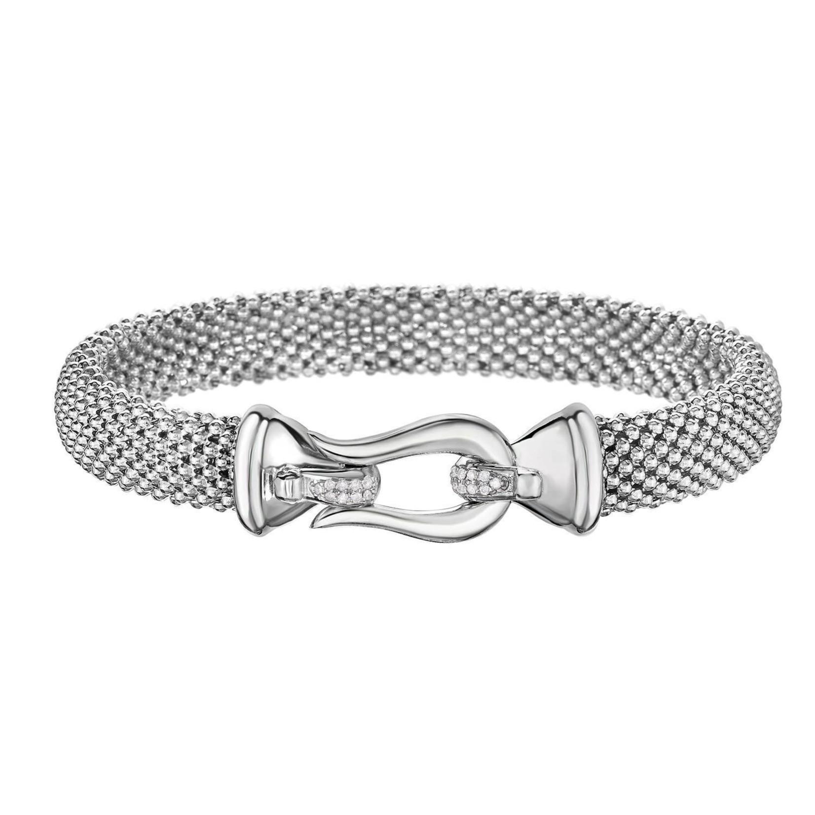 Sterling Silver Diamond Buckle Bracelet 0.09ctw