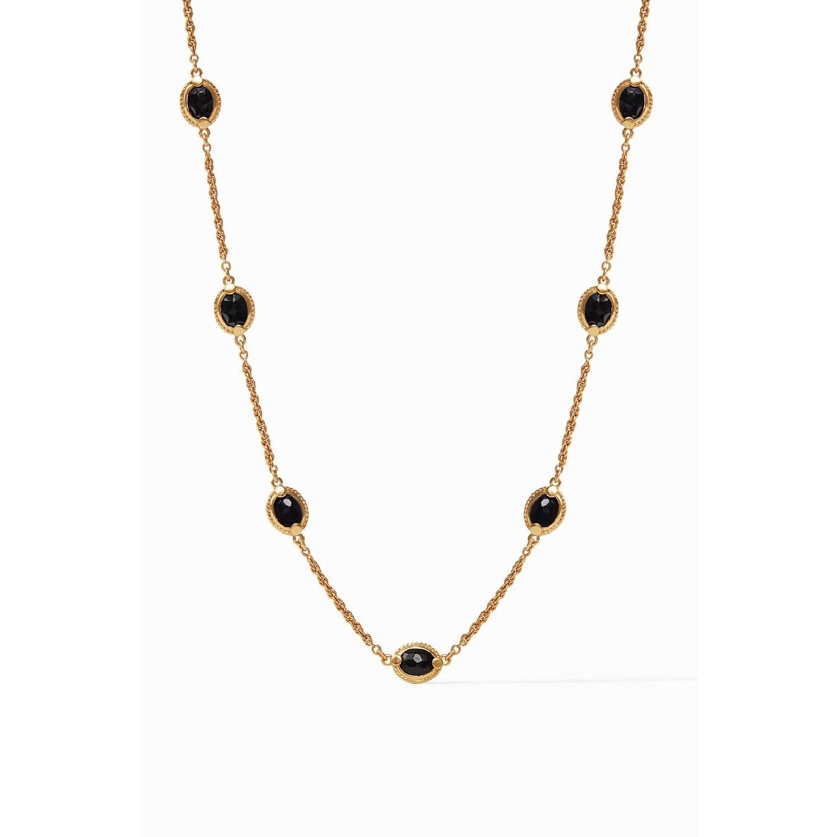 "JV Calypso Delicate Station Necklace Obsidian 17-18-19"""
