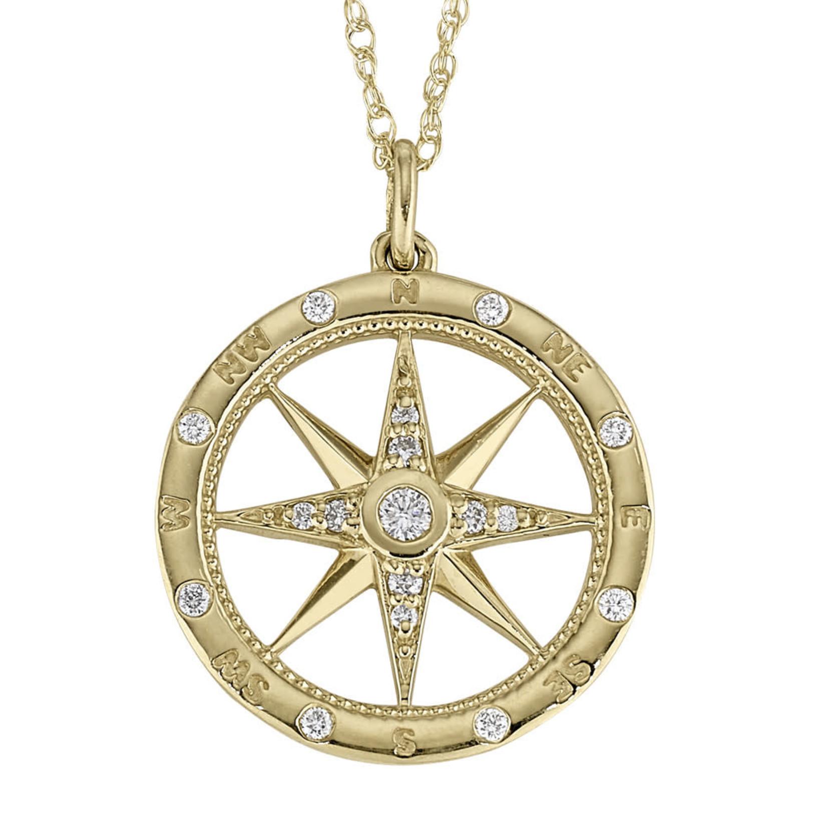 "14KY Gold Diamond Compass Rose Pendant 0.20ctw 18"""
