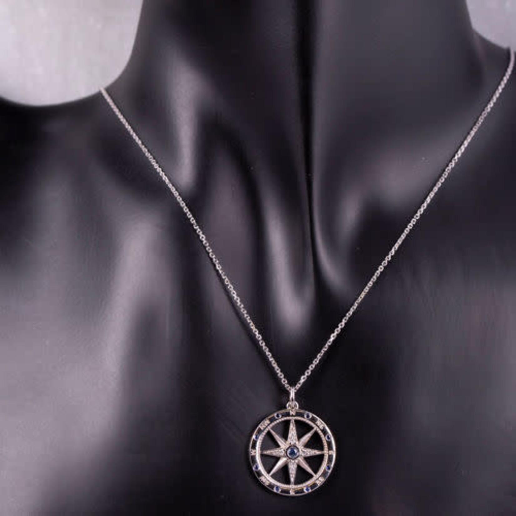 "14KW Gold Sapphire 0.16ctw & Diamond 0.04ctw Compass Rose Pendant 18"""
