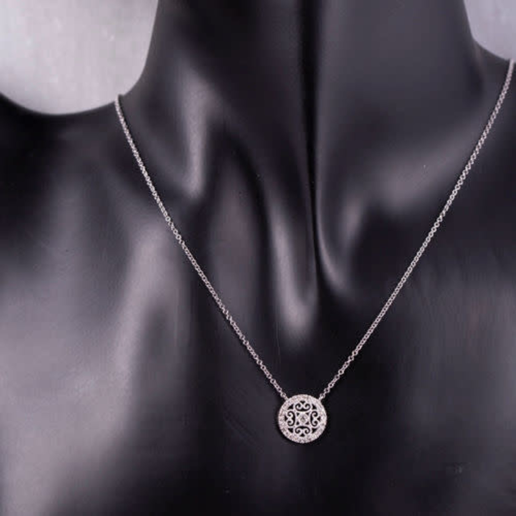 "14KW Gold Diamond 0.17ctw Filigree Pendant 18"""