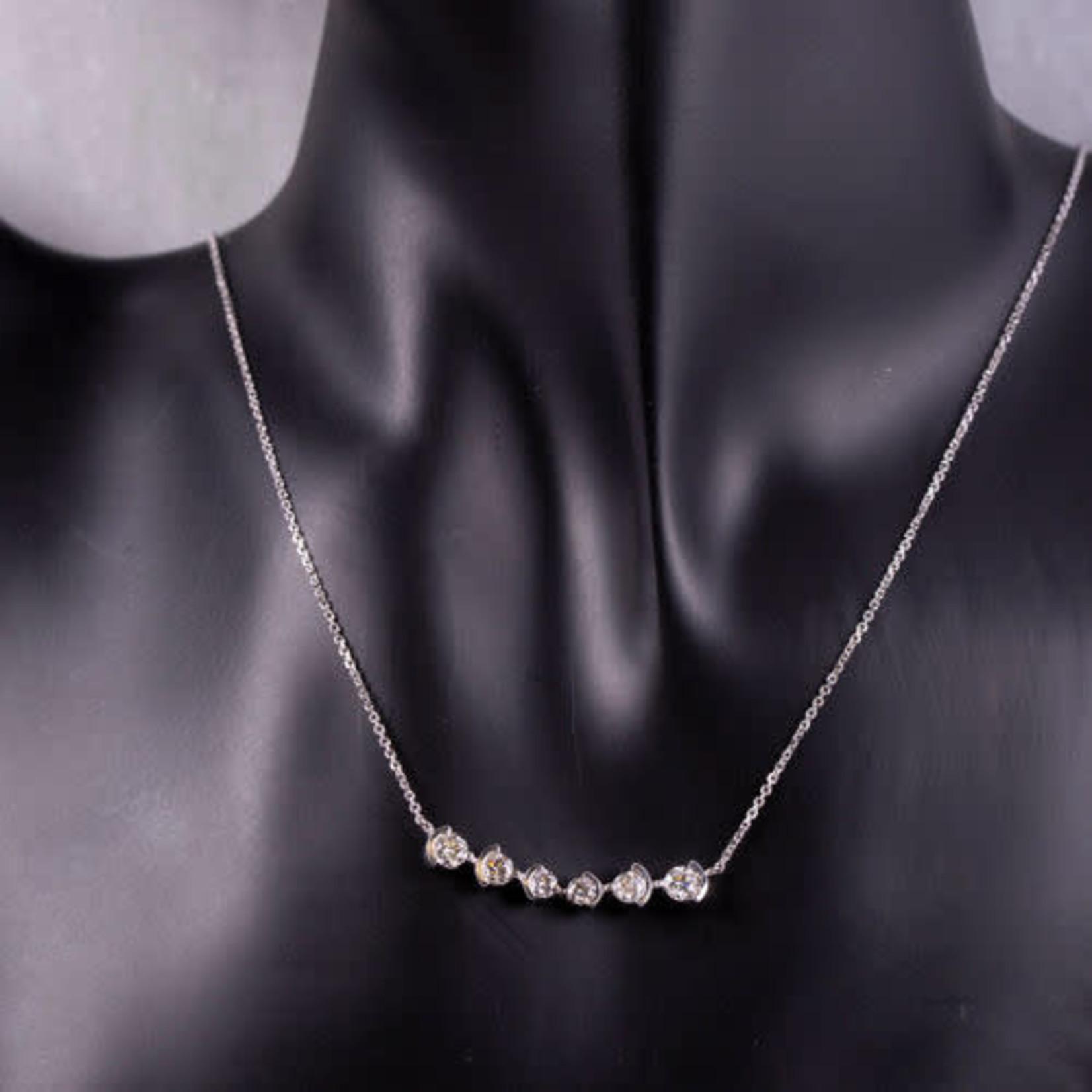 """14K White Gold 1 Carat Diamond Shared Bezel Bar Pendant 18"""""""
