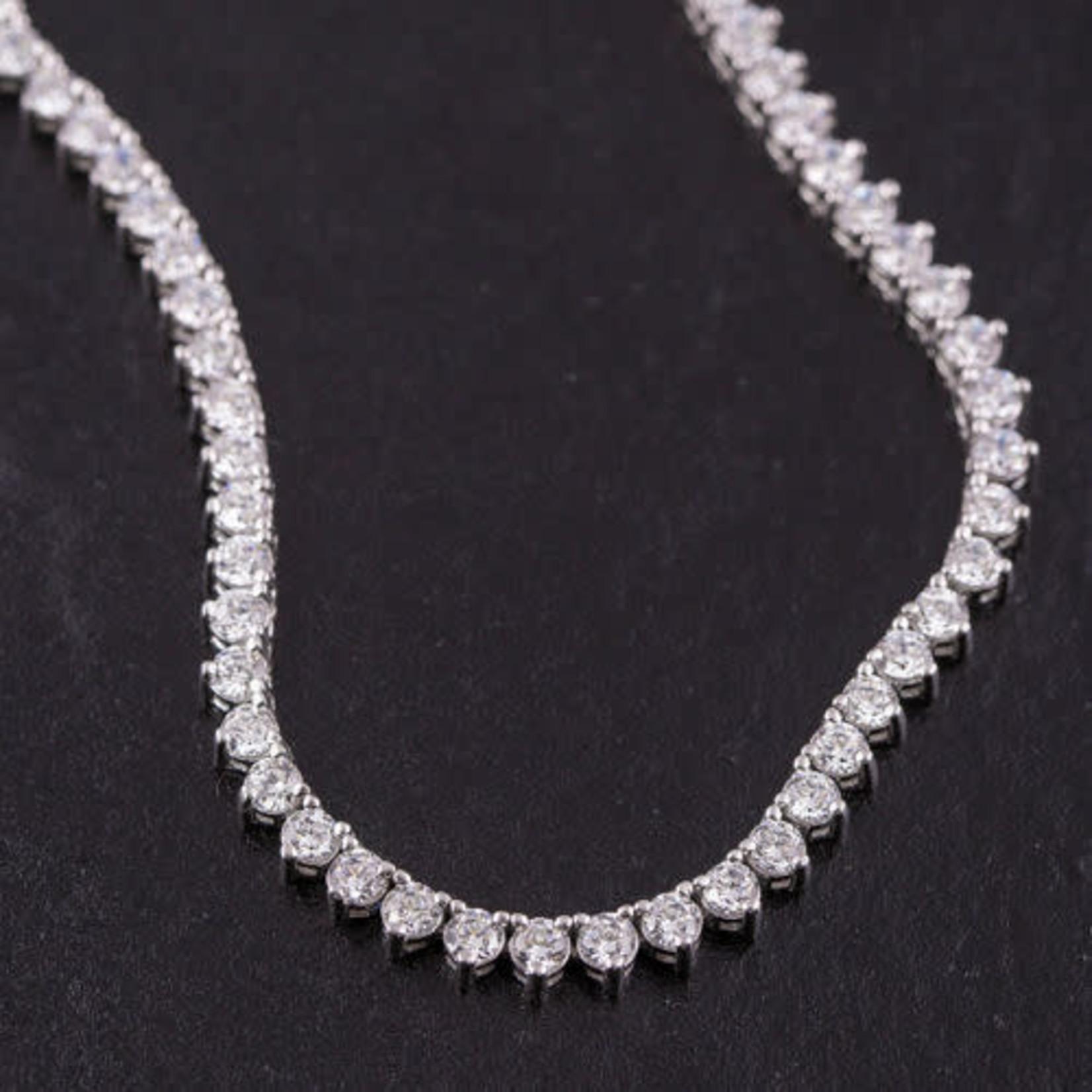 "14K White Gold 27ctw Diamond Eternity Necklace 36"""