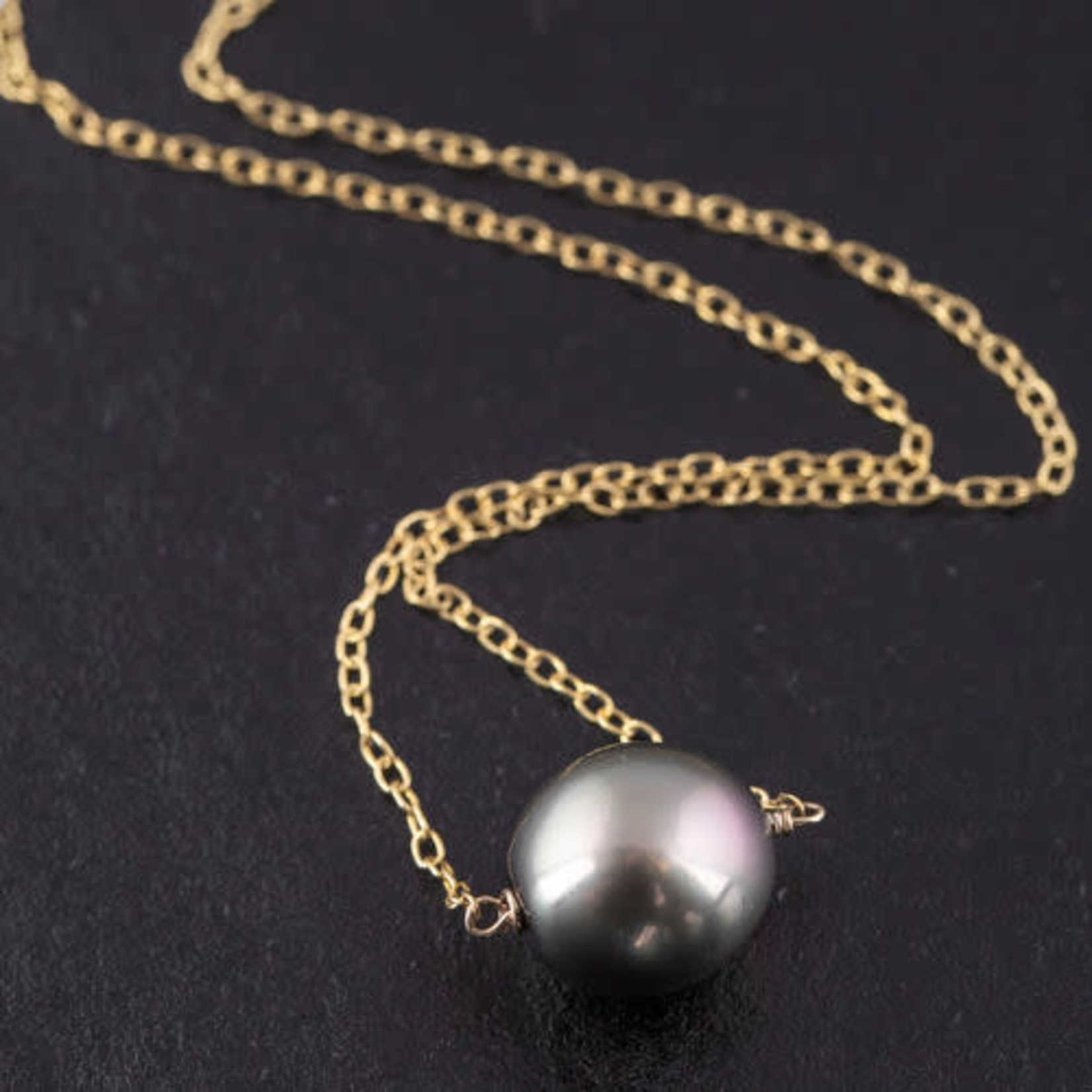 """18KY Gold Tahitian 12mm Pearl On Chain Pendant18"""""""