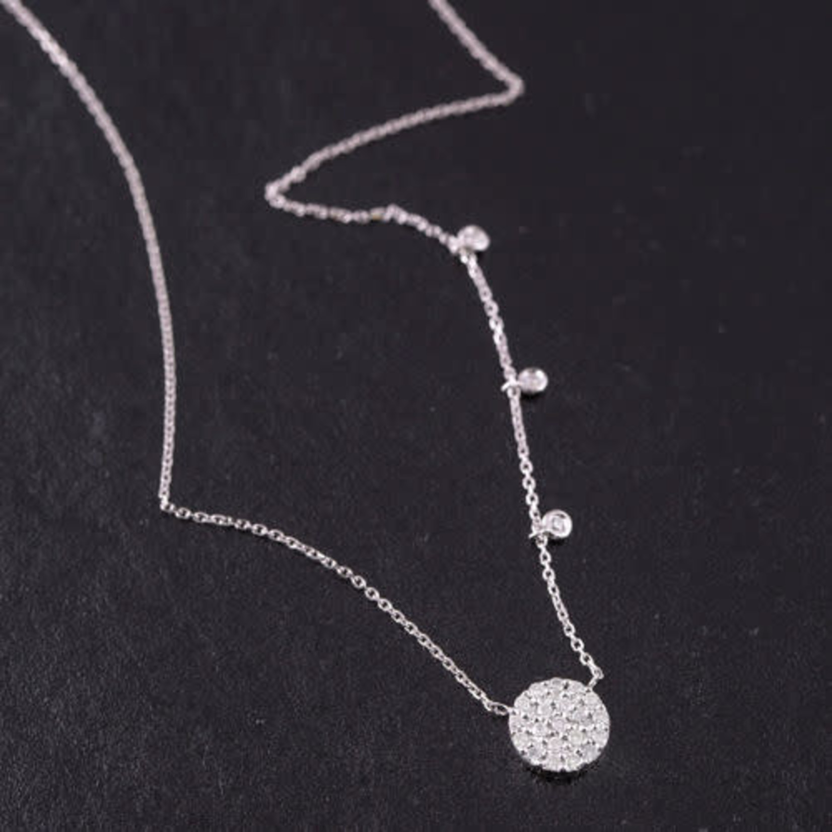 """14KW Gold Pave Diamond 0.25CT Disc with Diamond Bezel Accent Necklace 16-18"""""""