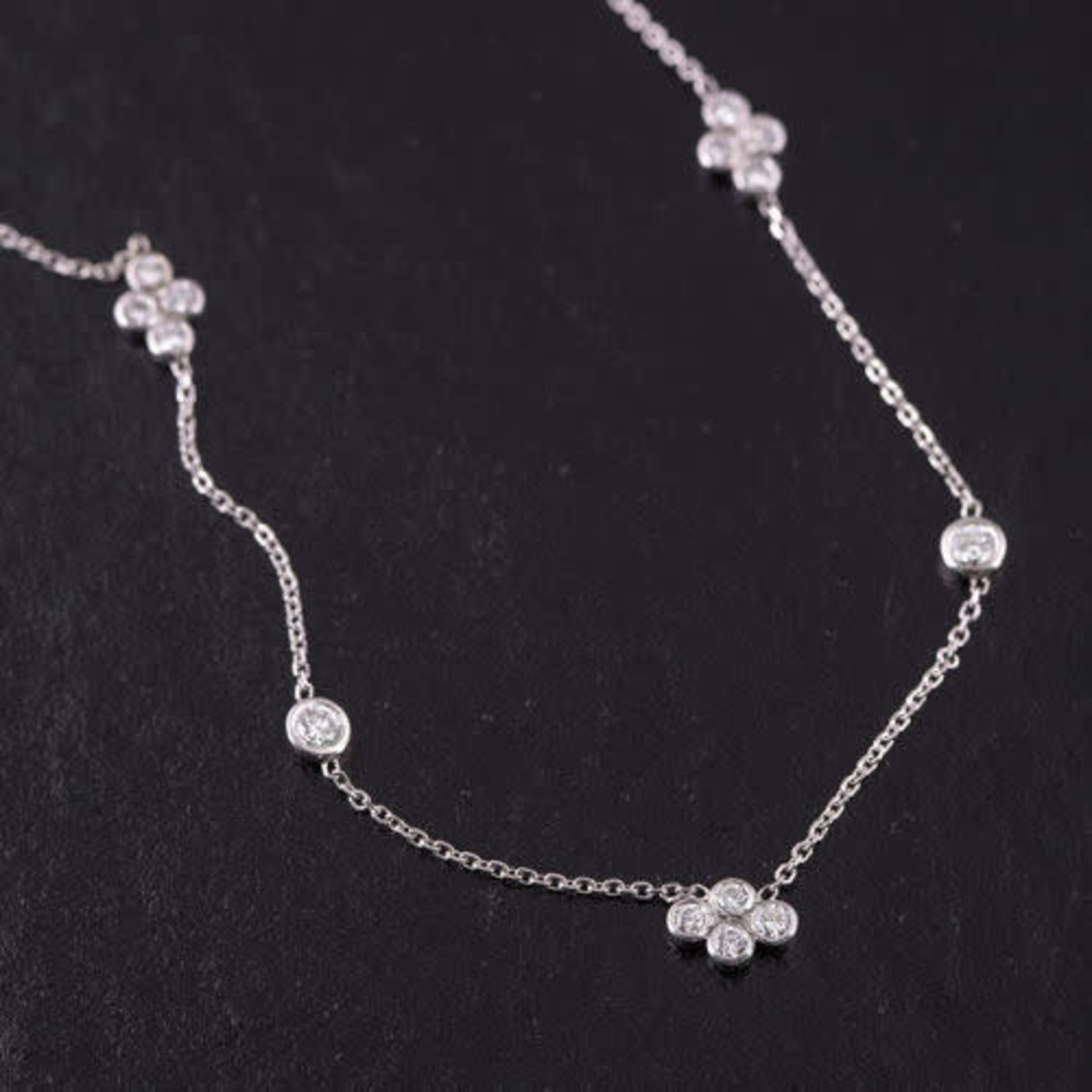 """14KW .50ctw Diamond Cluster By The Yard Necklace 18"""""""
