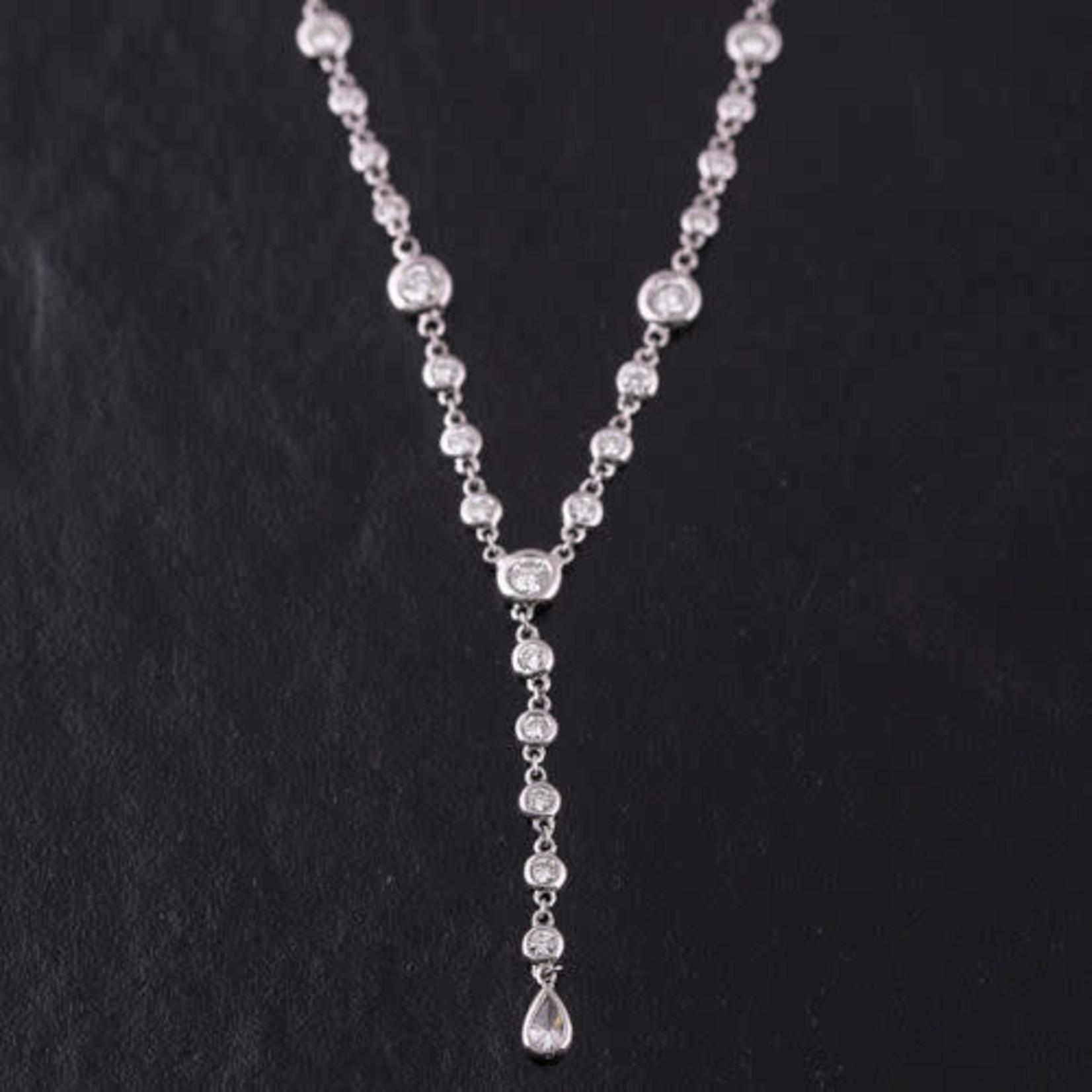 14KW Gold Diamond 1.40ctw Bezel Set Lariat Chain Necklace