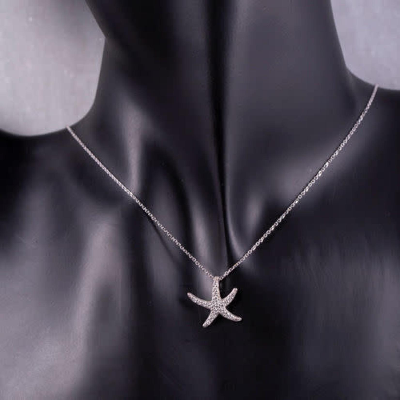 """14KW Diamond 0.24ctw Starfish Pendant 18"""""""