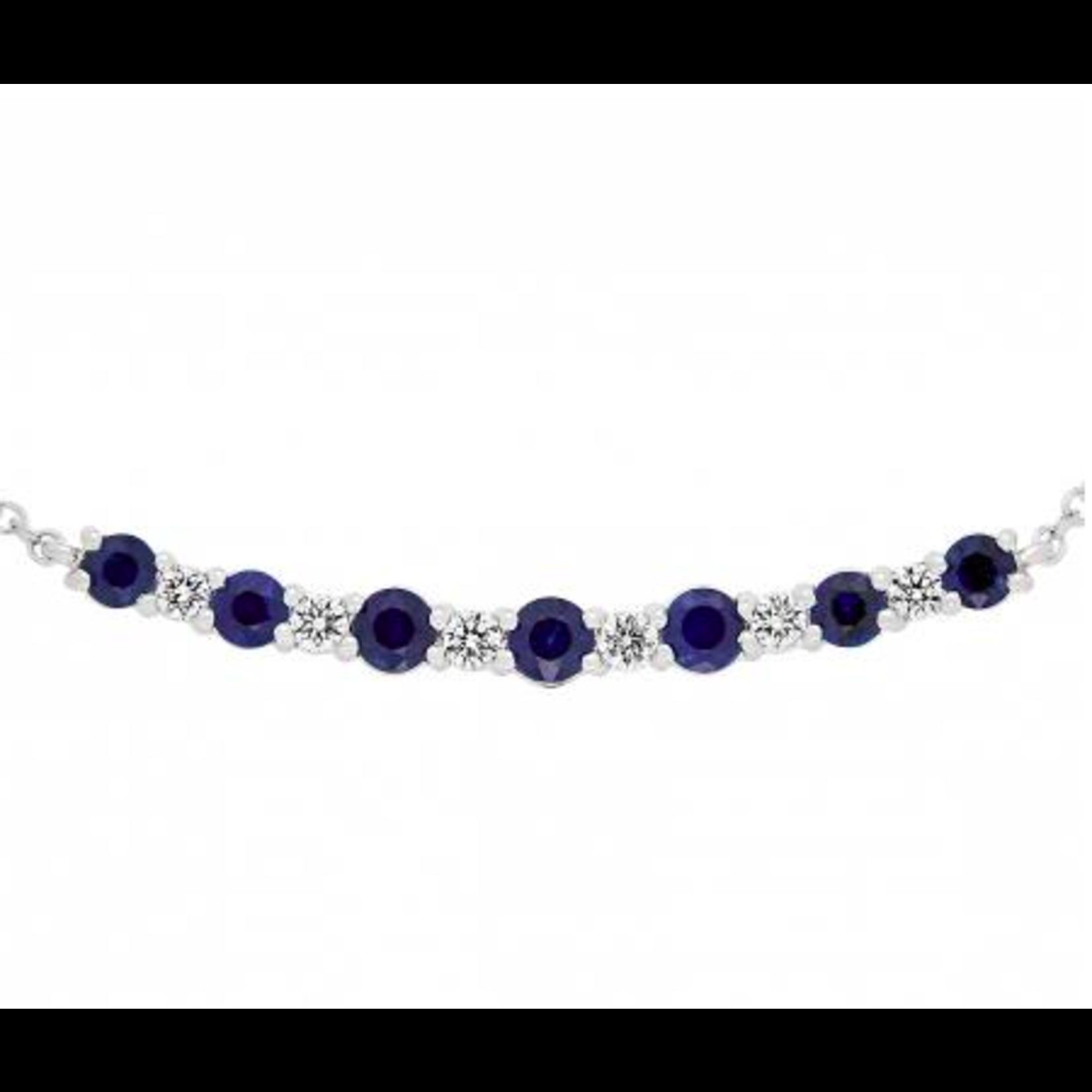 "14K White Gold Sapphire 0.86ctw & Diamond 0.18ctw Bar Necklace 16-17-18"""